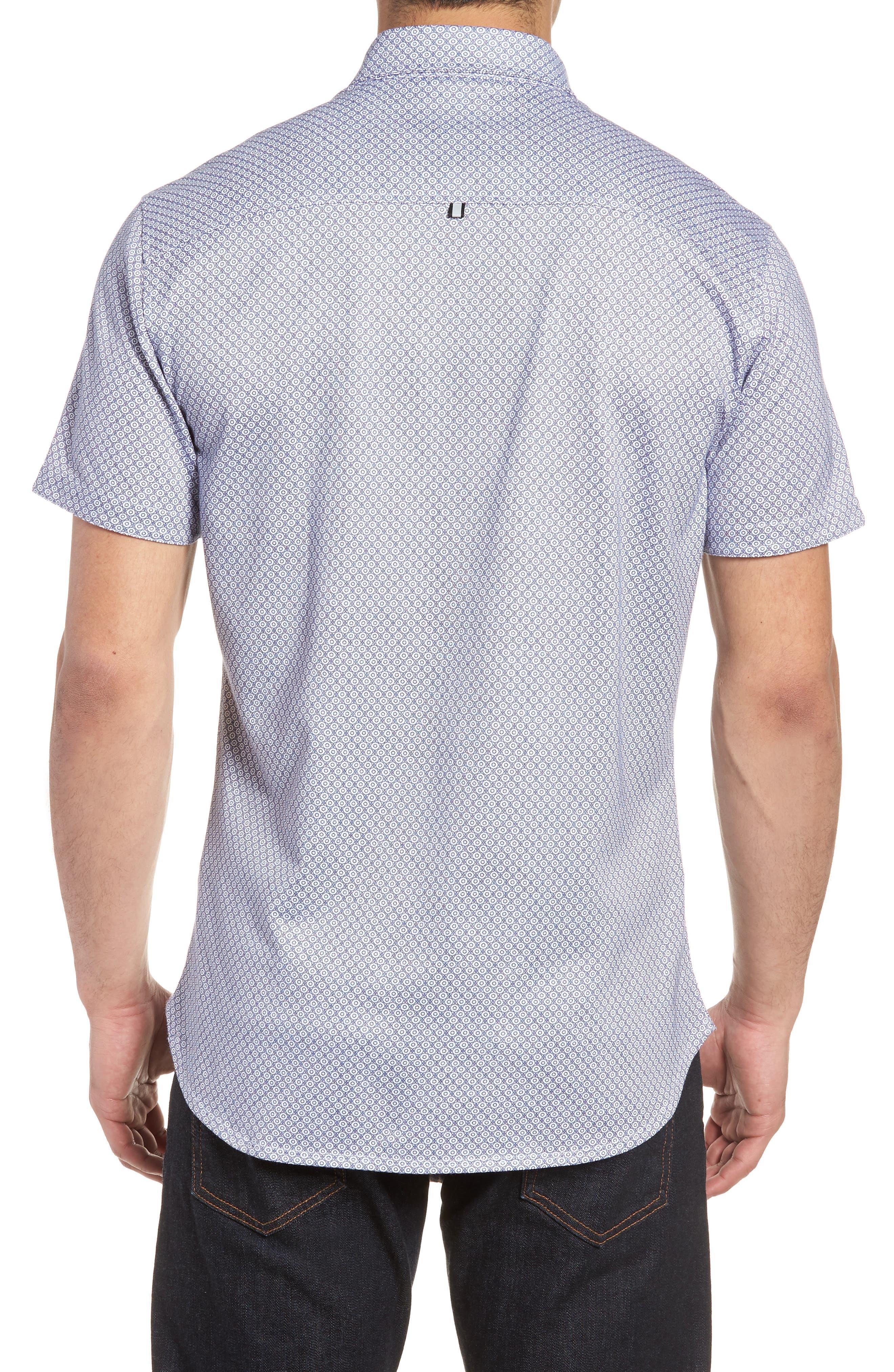 Contemporary Fit Geo Tech Sport Shirt,                             Alternate thumbnail 2, color,                             WHITE
