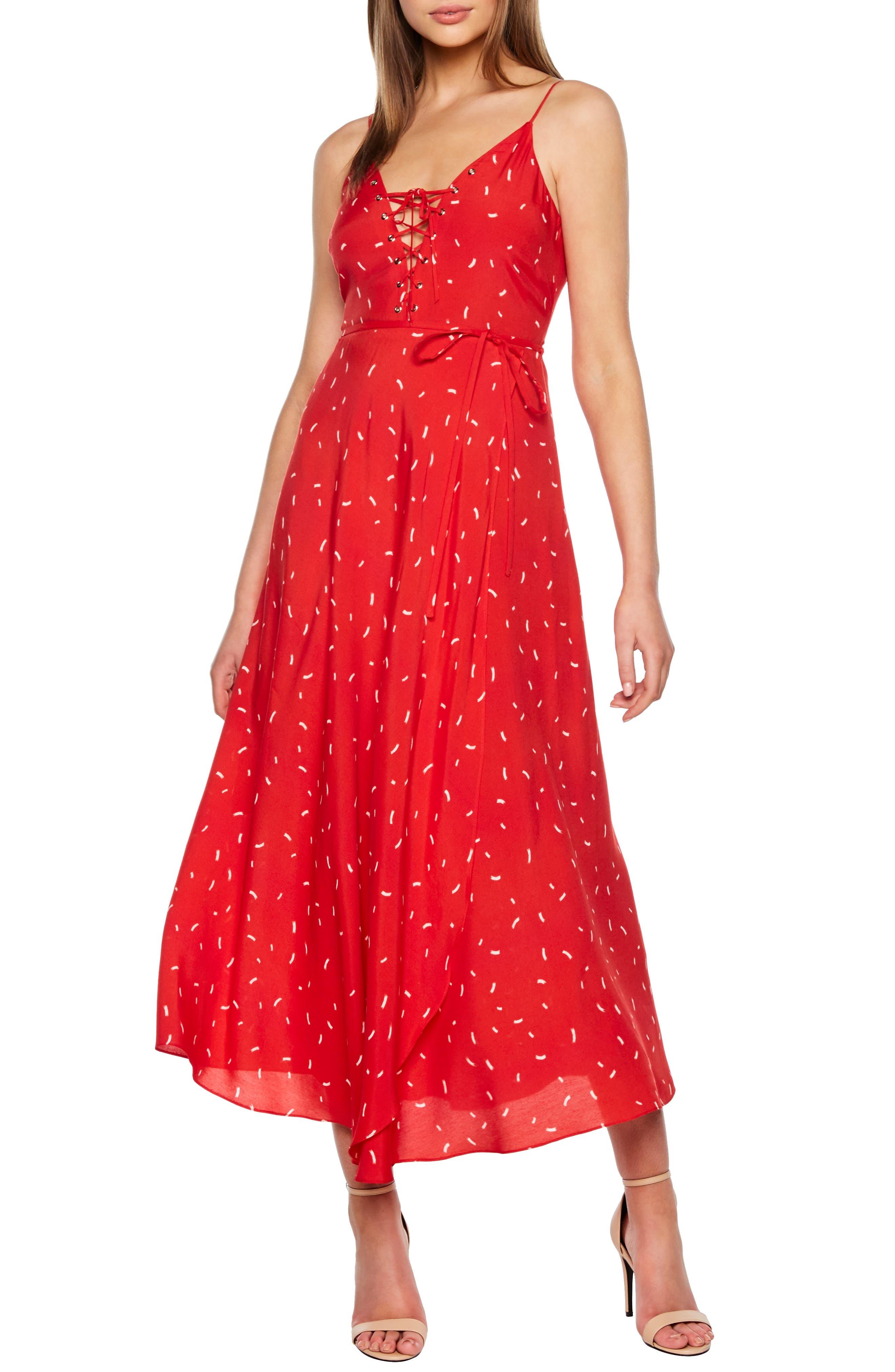 Bardot Jackson Fit & Flare Midi Dress, Red