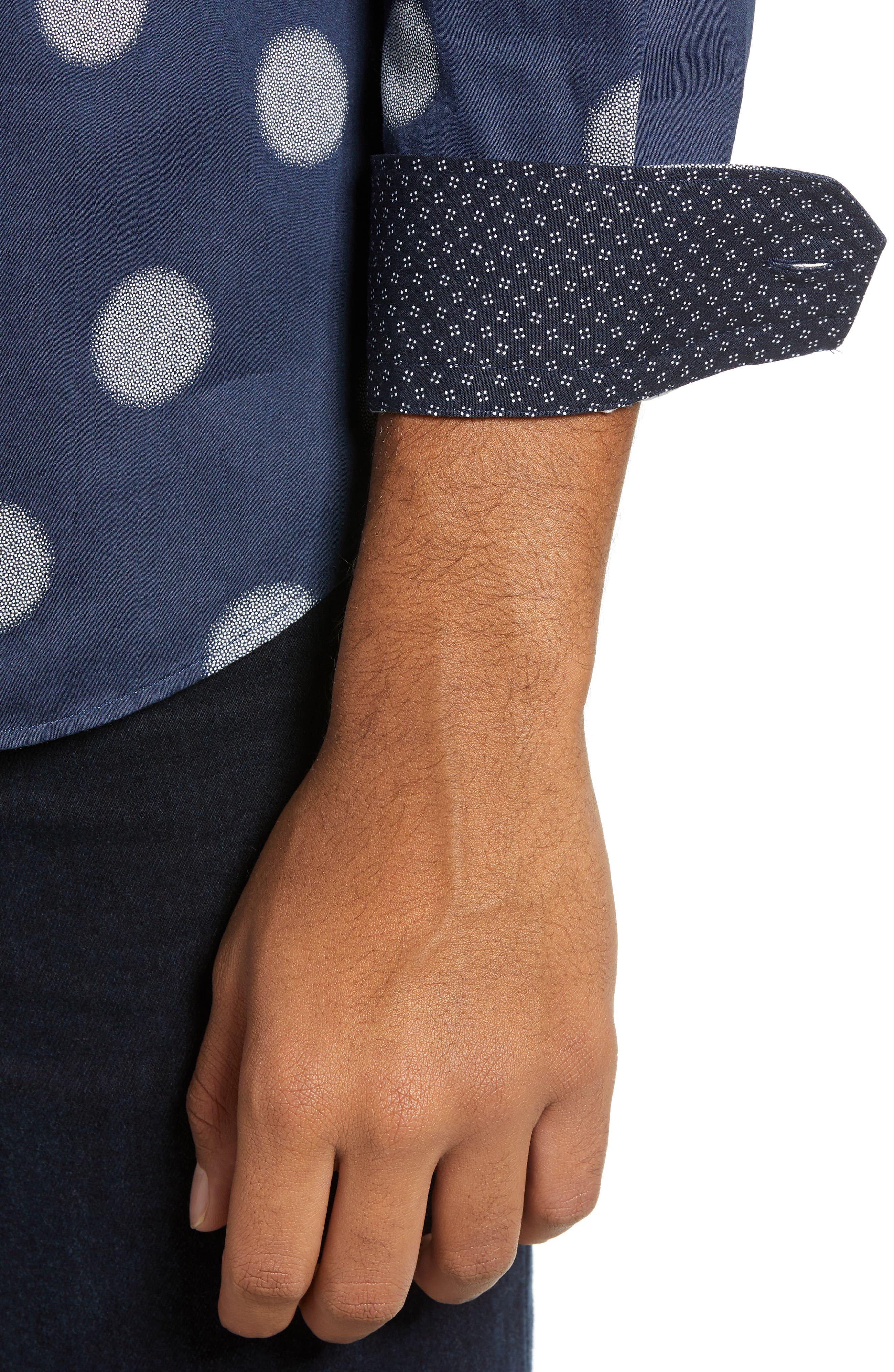 Cerious Slim Fit Circle Dot Sport Shirt,                             Alternate thumbnail 2, color,                             NAVY