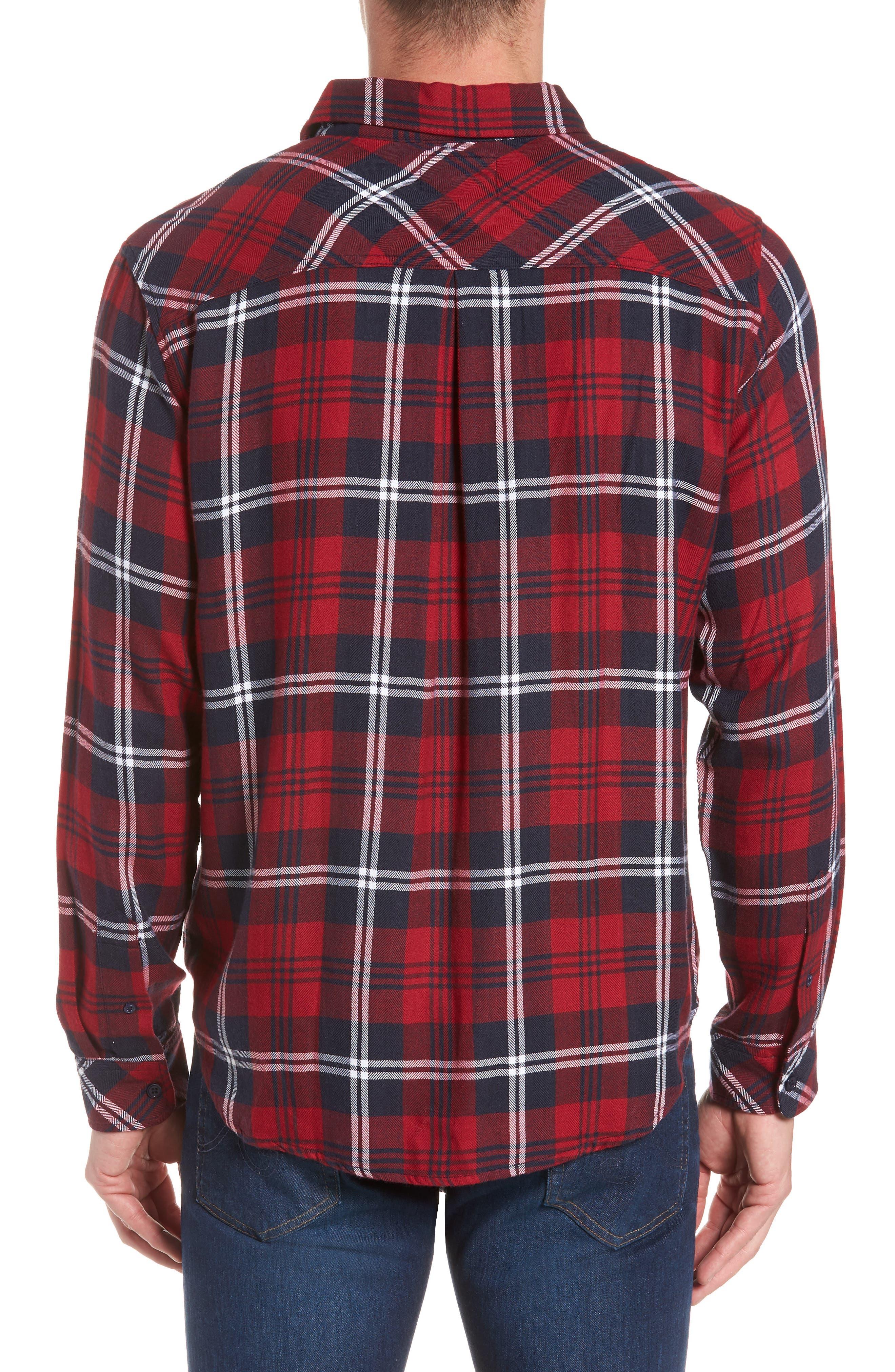 Lennox Sport Shirt,                             Alternate thumbnail 3, color,                             RED/ NAVY/ WHITE