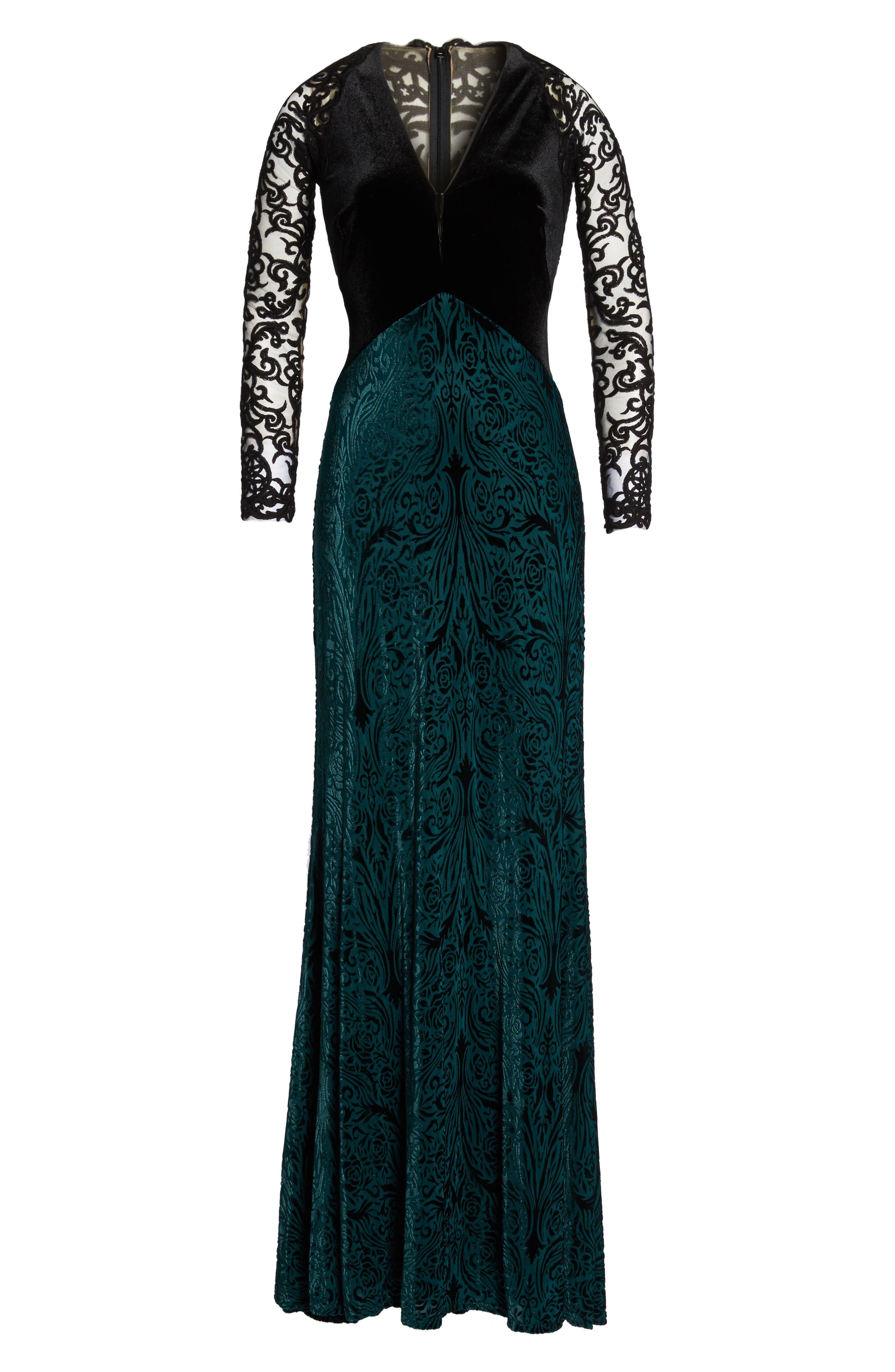 V-Neck Velvet & Illusion Gown,                             Alternate thumbnail 6, color,