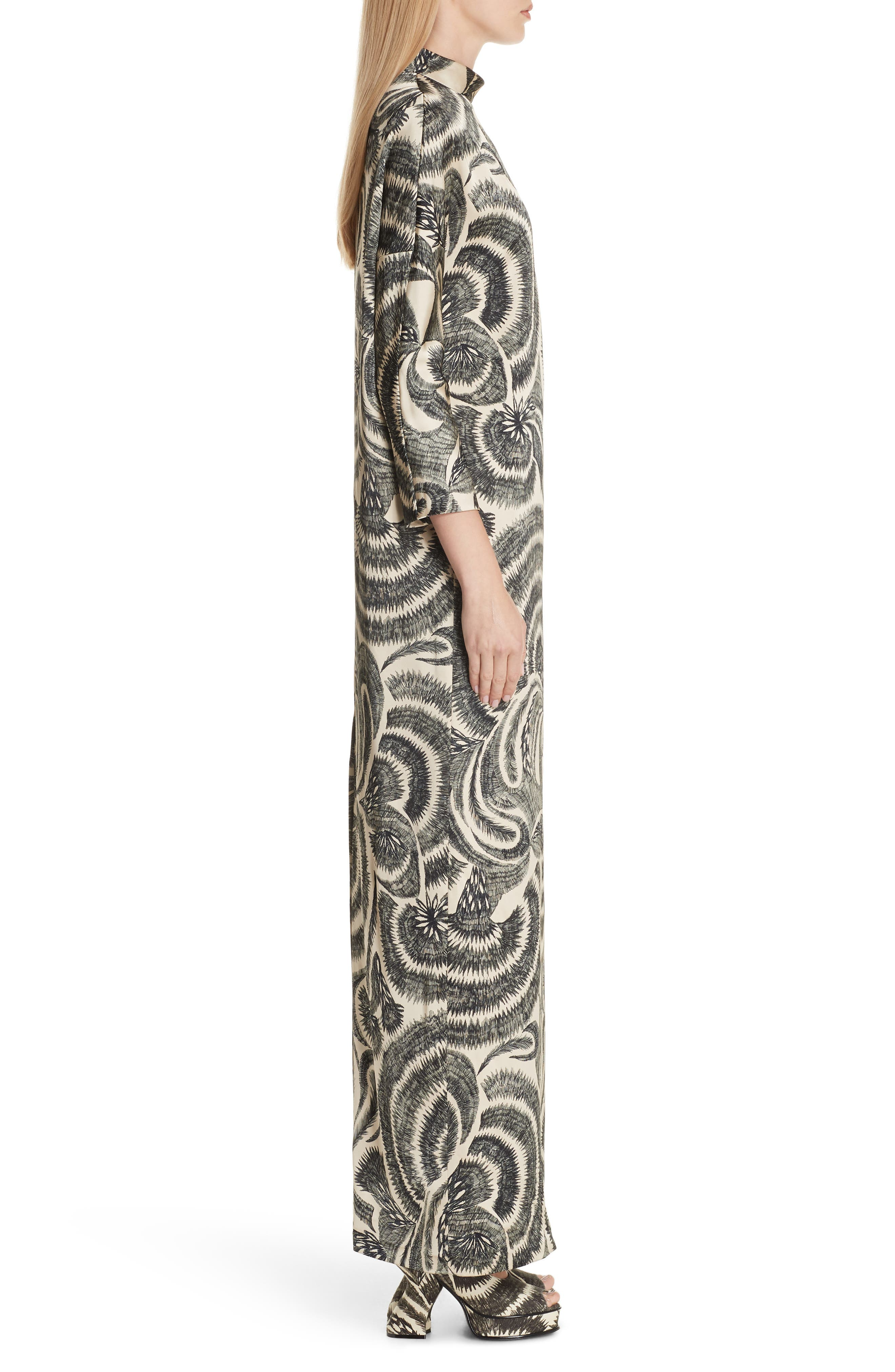 Tattoo Print Maxi Dress,                             Alternate thumbnail 3, color,                             020