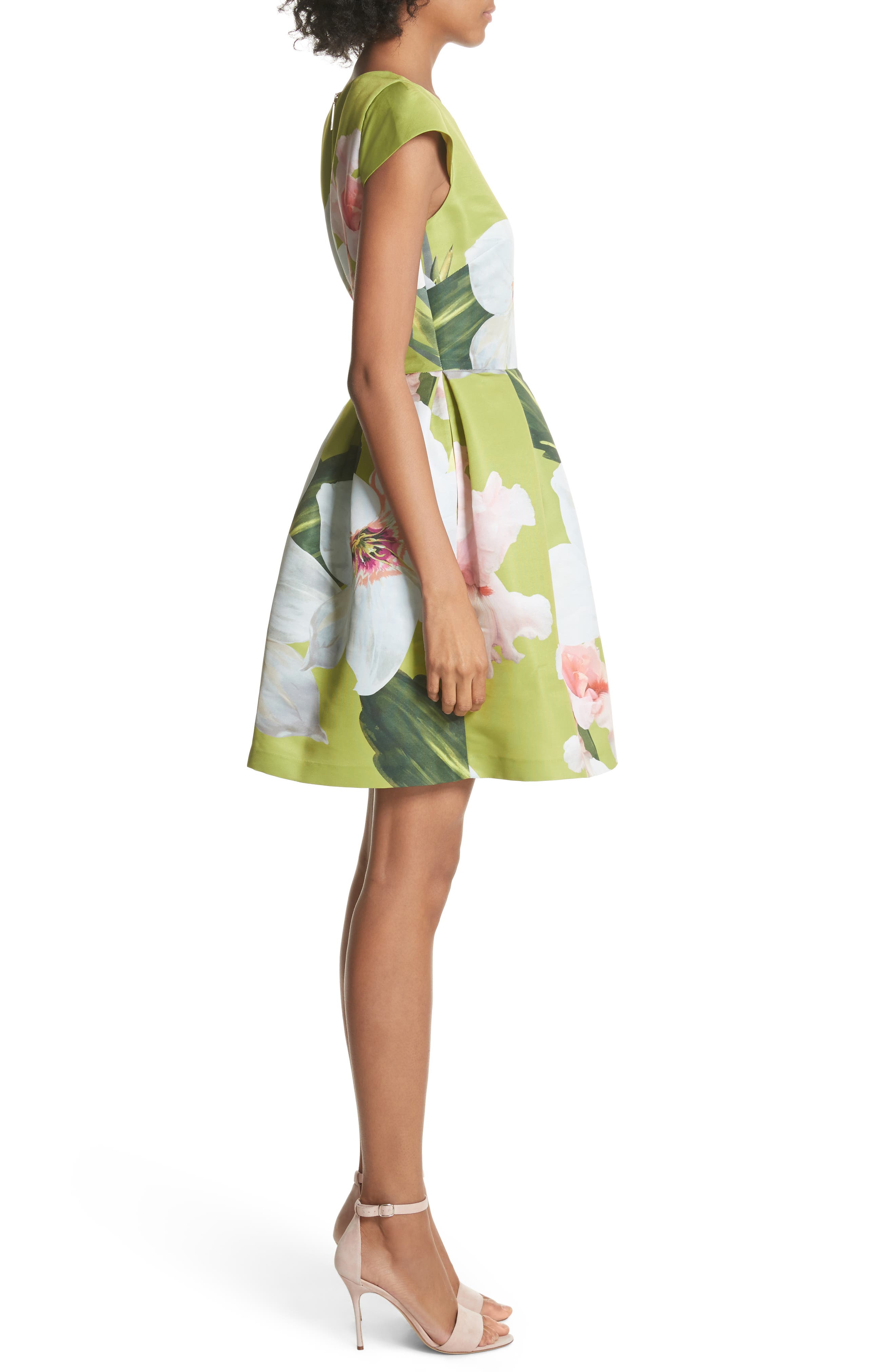 Lynetta Skater Dress,                             Alternate thumbnail 3, color,                             330