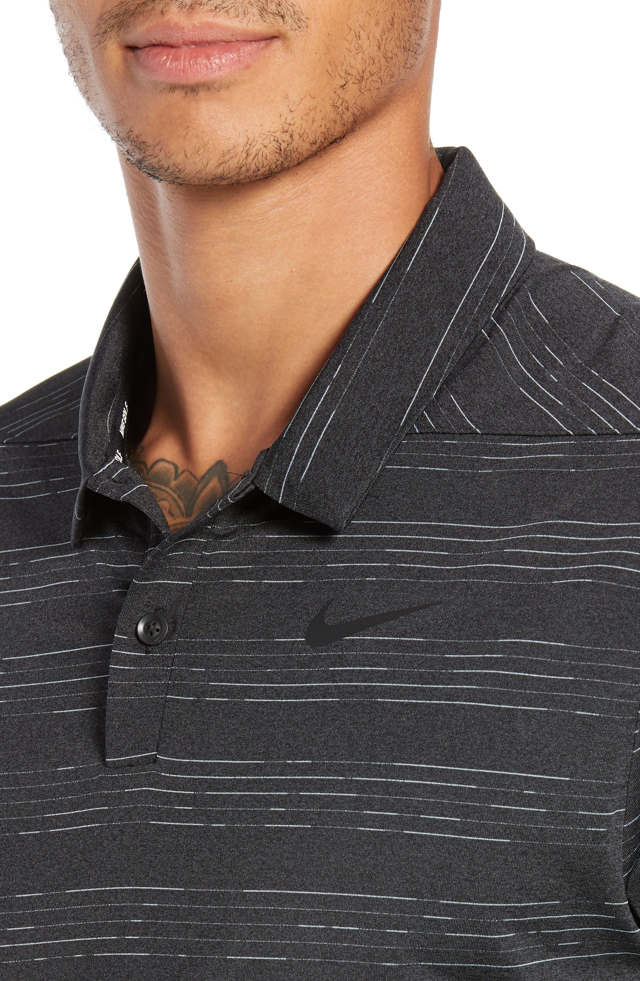 Dry Heather Stripe Polo,                             Alternate thumbnail 4, color,                             ANTHRACITE/ BLACK/ WOLF GREY