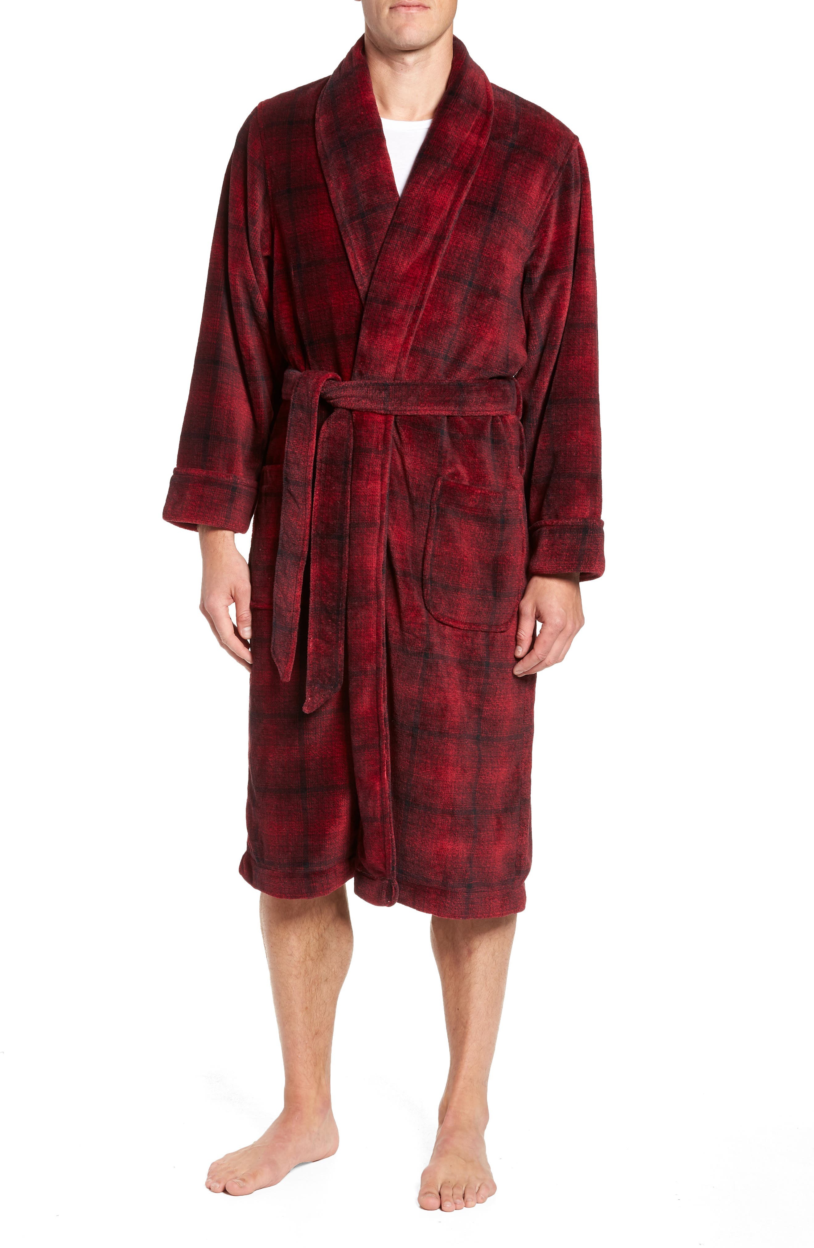 Ombré Plaid Fleece Robe,                             Main thumbnail 1, color,                             RED JESTER- BLACK OMBRE PLAID
