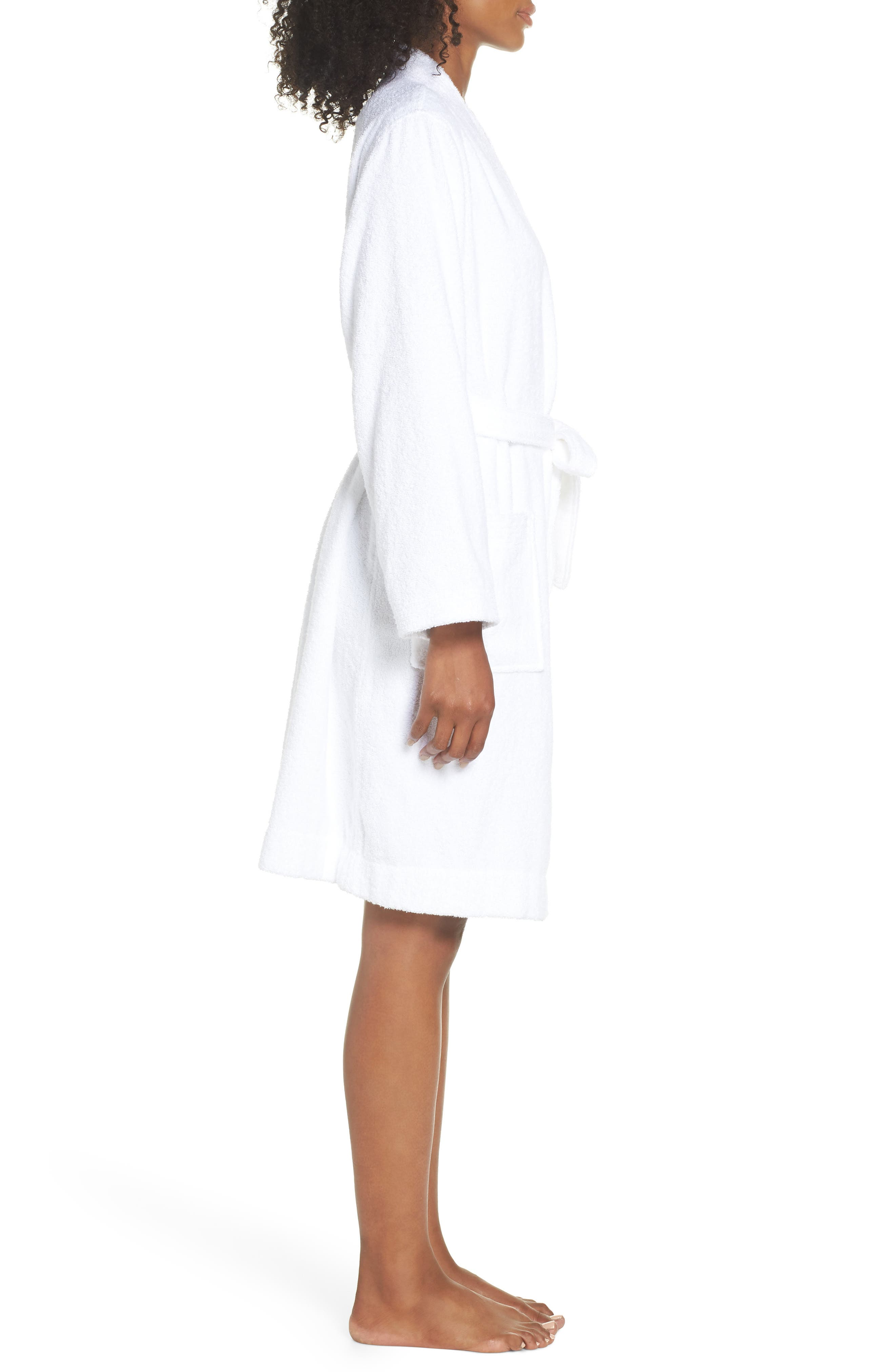 Lorie Terry Short Robe,                             Alternate thumbnail 3, color,                             WHITE