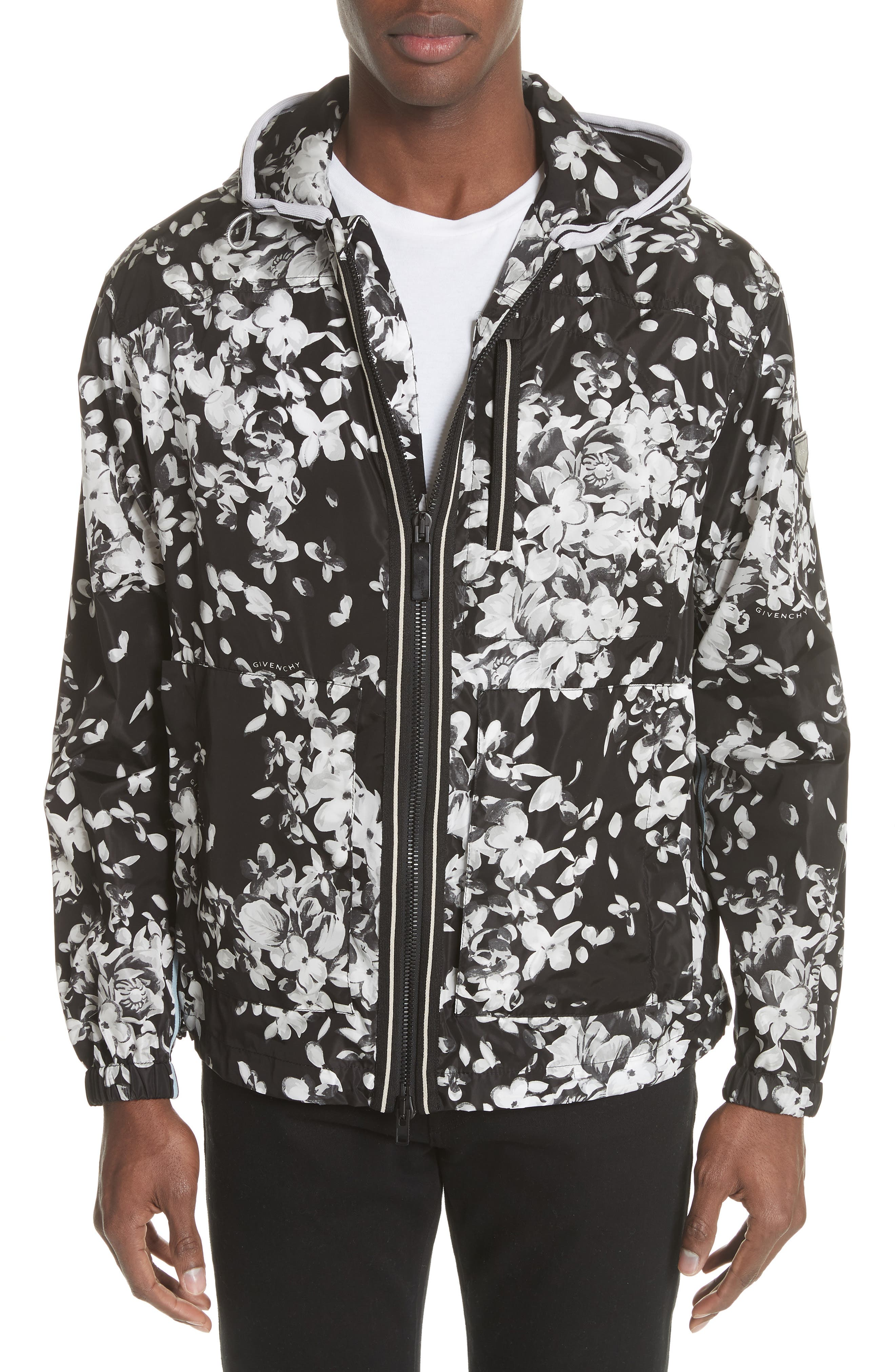 x K-Way Hydrangea Print Windbreaker,                             Main thumbnail 1, color,