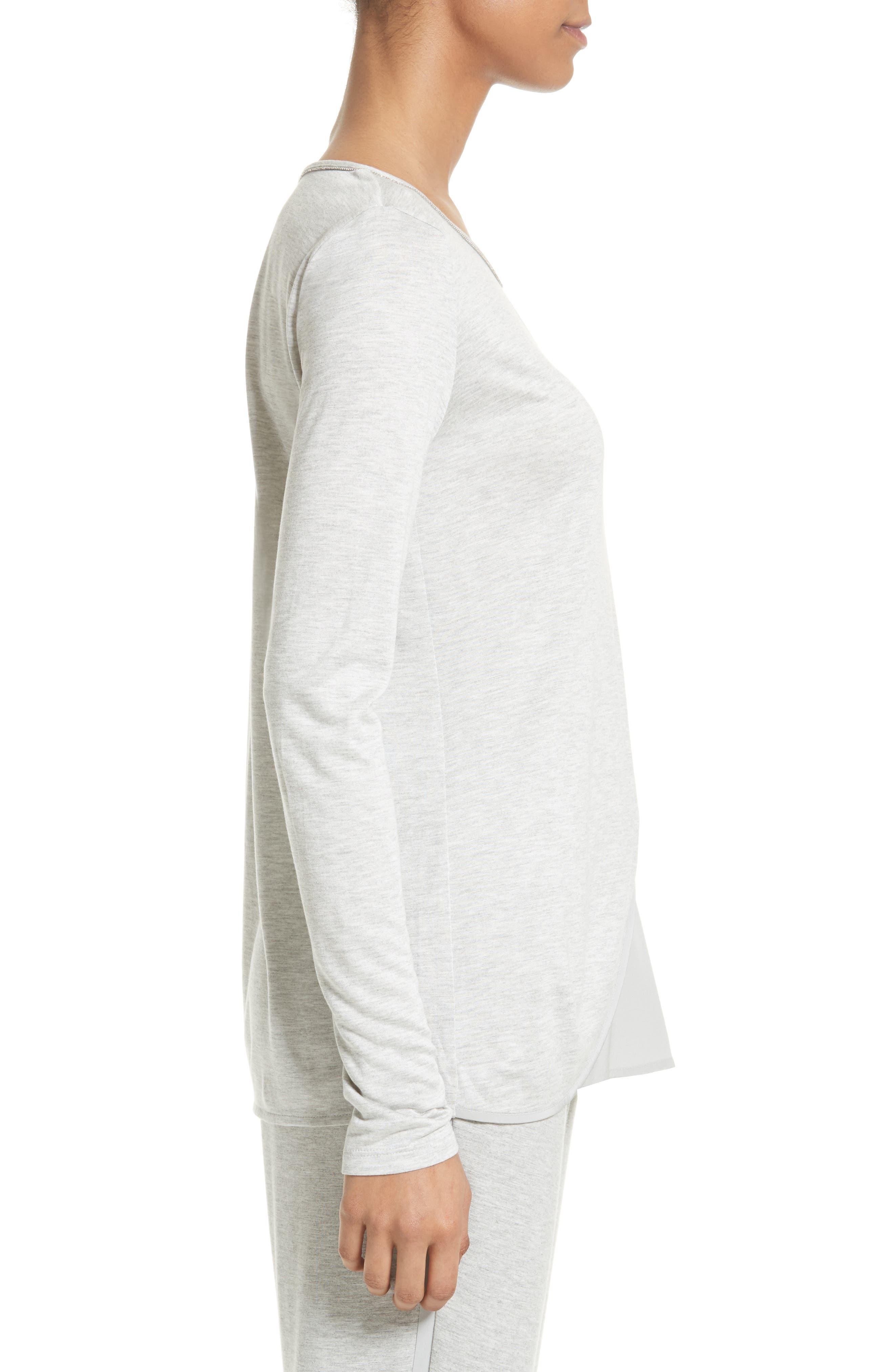 Sleek Jersey & Silk Top,                             Alternate thumbnail 3, color,                             060