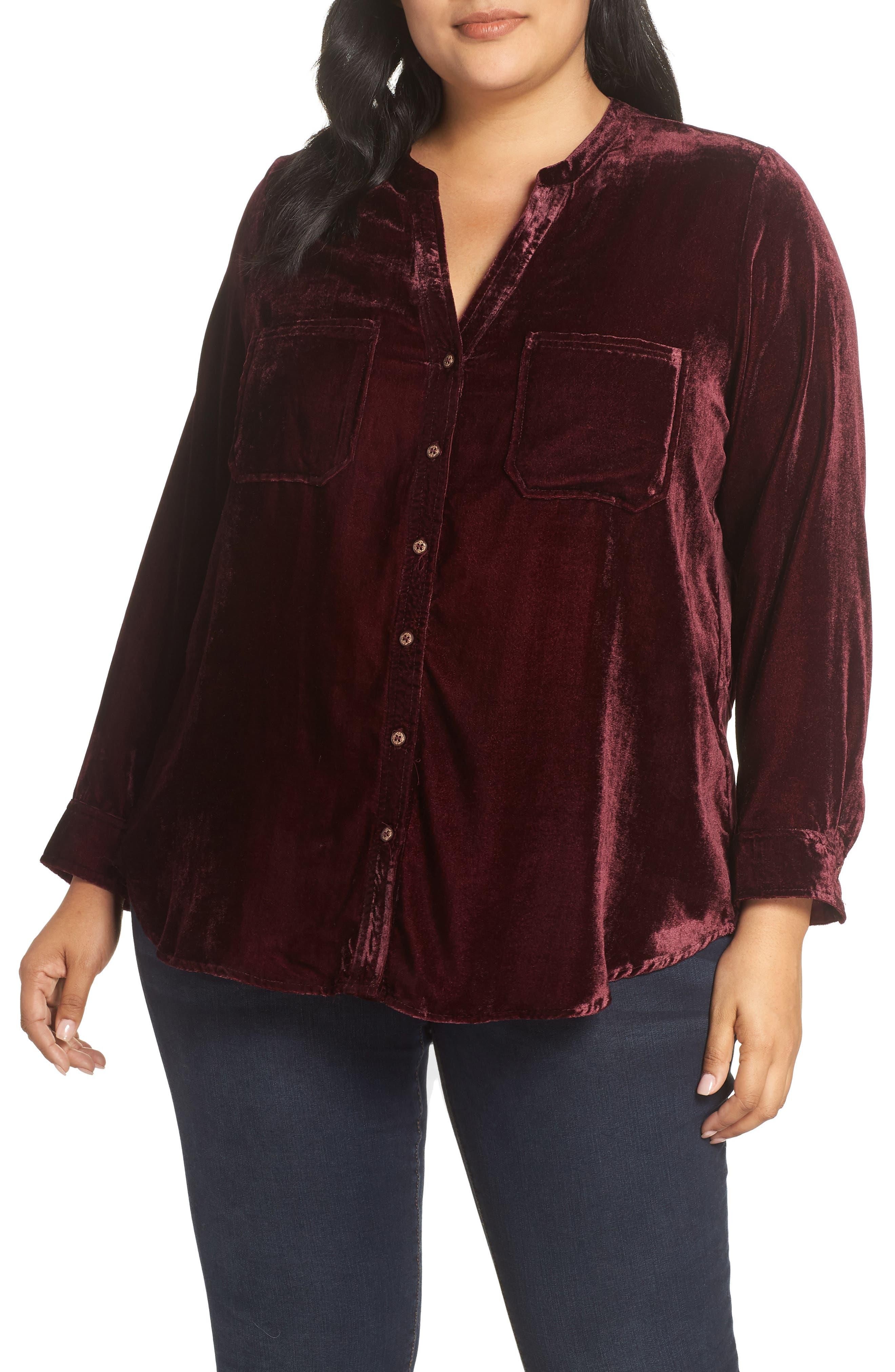 Velvet Shirt,                             Main thumbnail 1, color,                             RUBY WINE