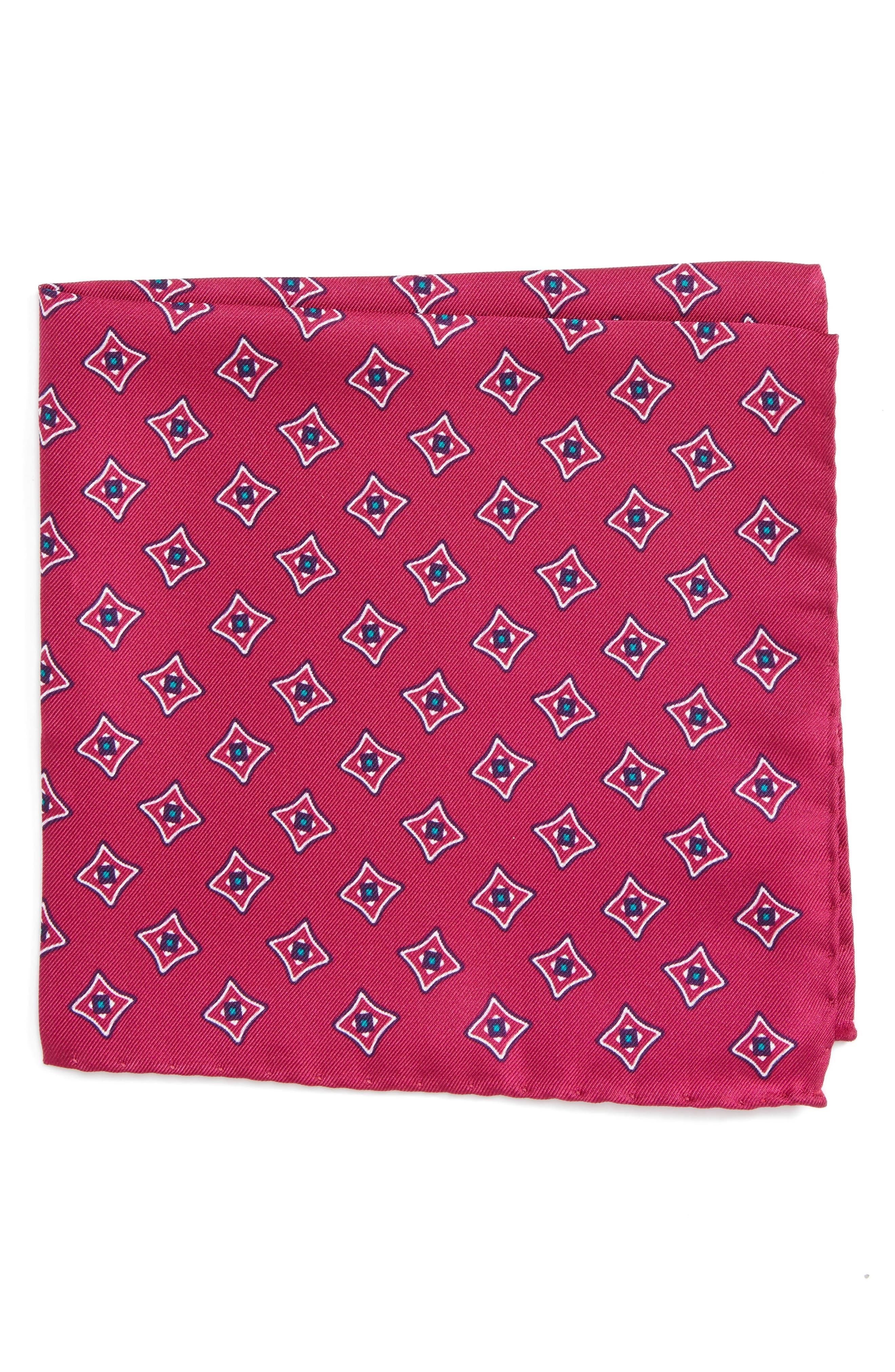 Medallion Silk Pocket Square,                             Main thumbnail 3, color,