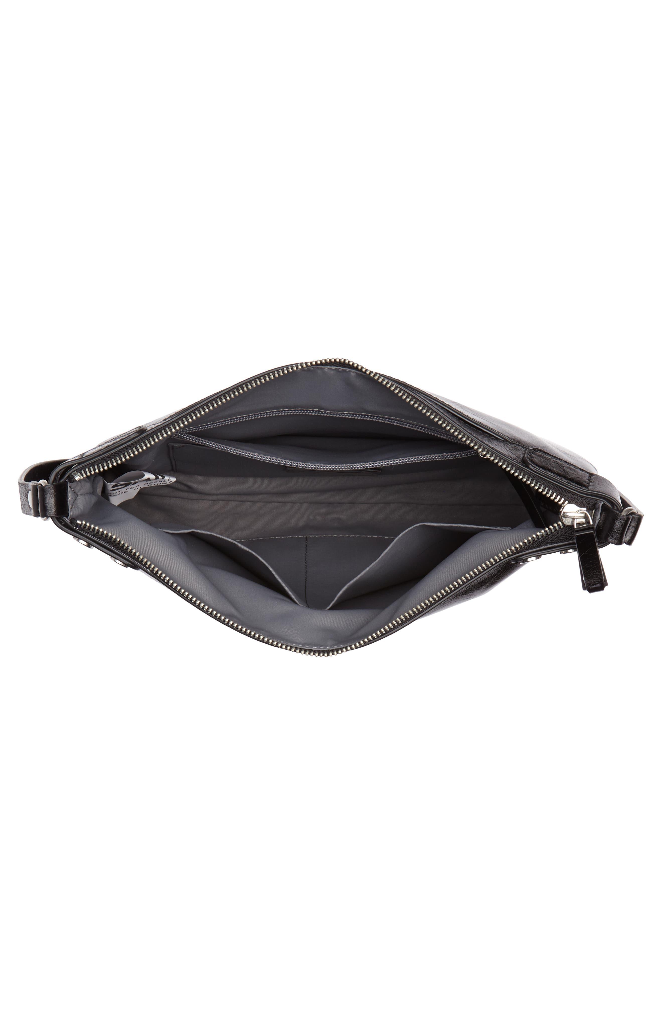 Marlow Glazed Leather Crossbody Bag,                             Alternate thumbnail 4, color,                             BLACK