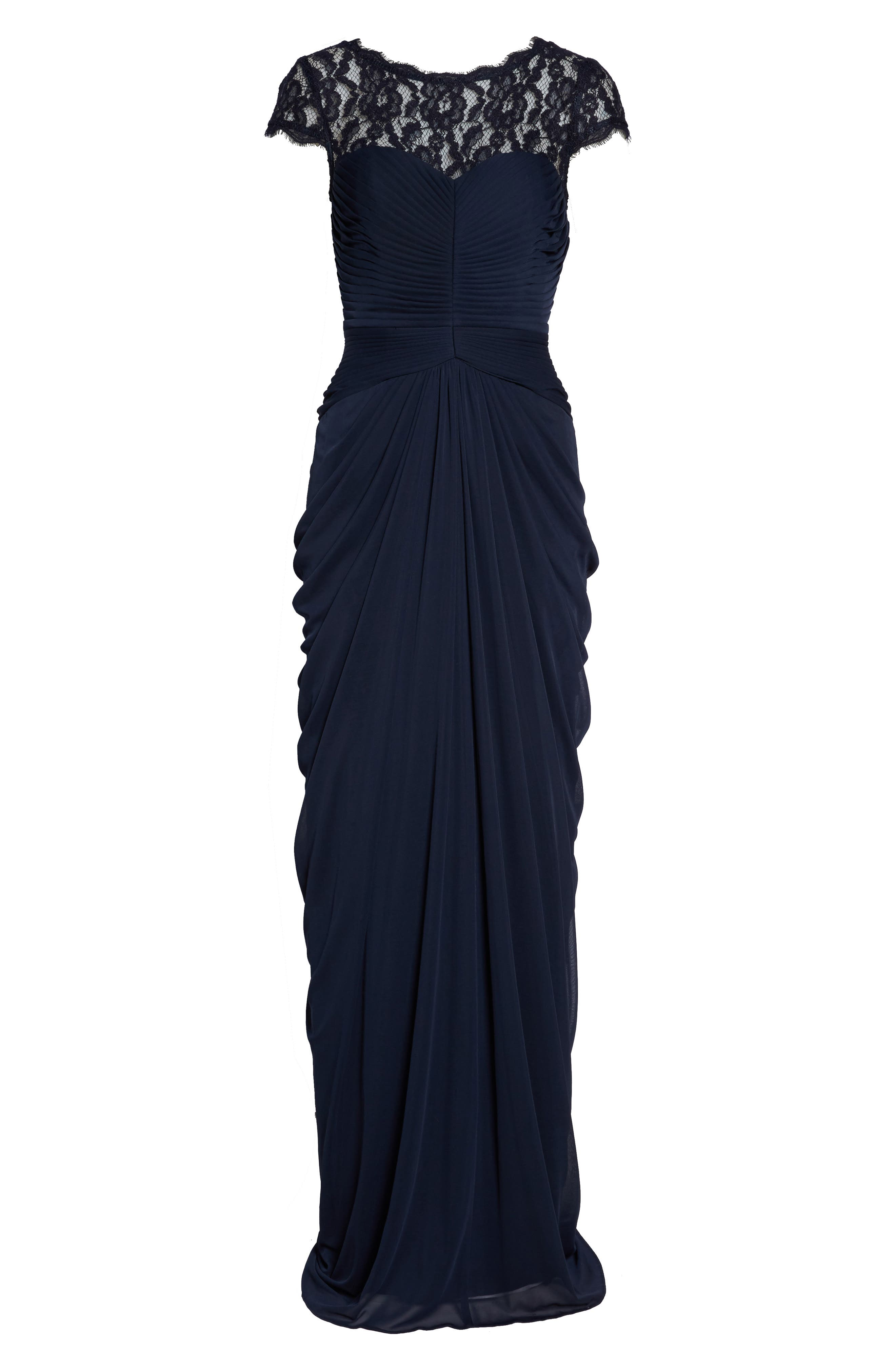 Lace Yoke Drape Gown,                             Alternate thumbnail 14, color,