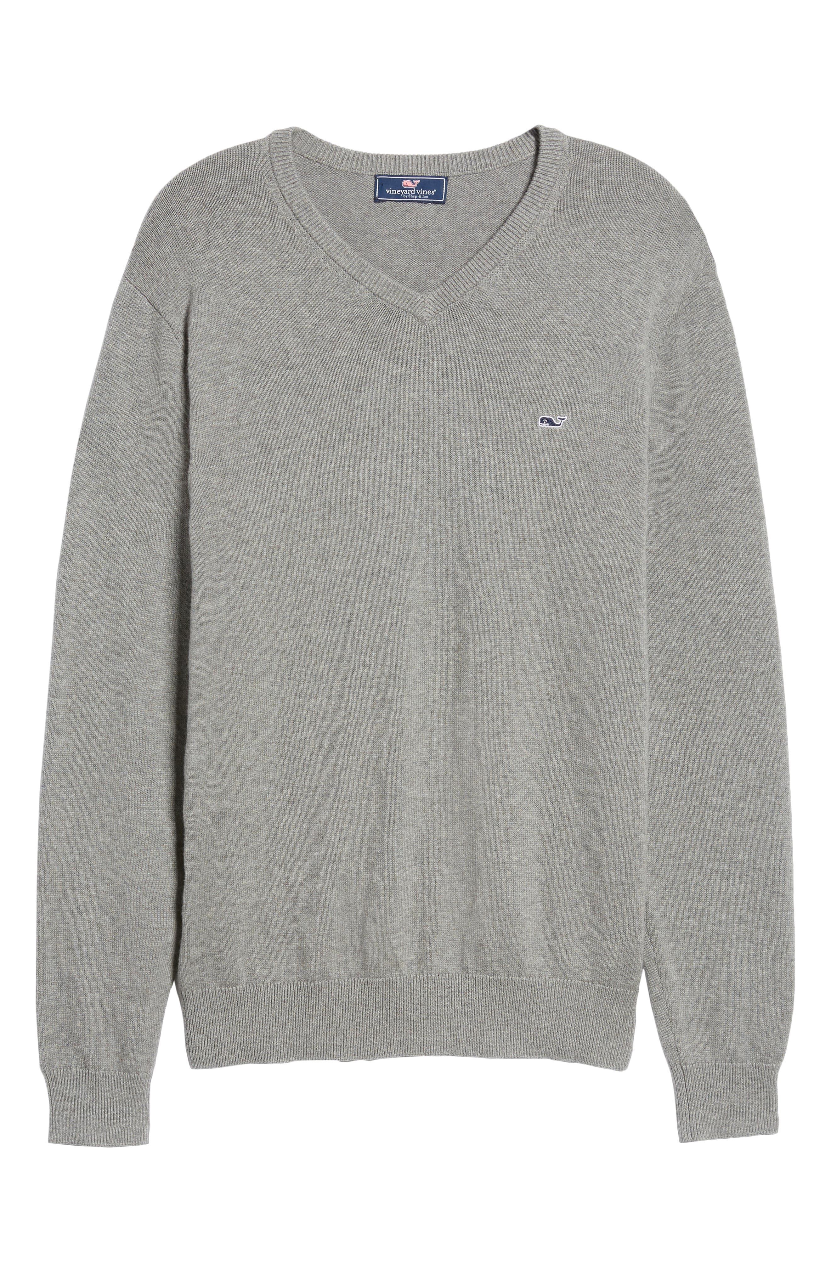 Cotton & Cashmere V-Neck Sweater,                             Alternate thumbnail 6, color,                             GRAY HEATHER