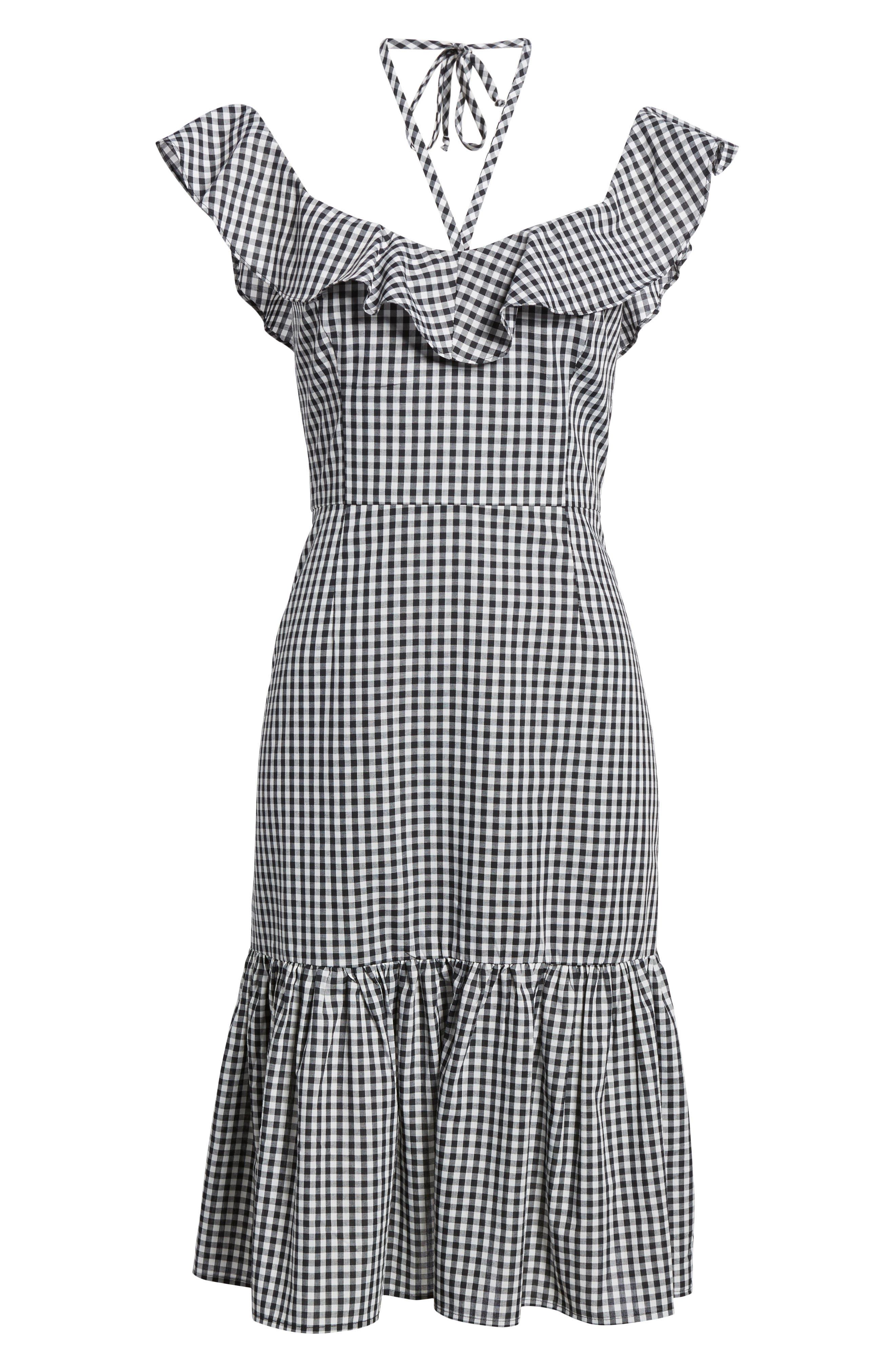 Zander Ruffle Midi Dress,                             Alternate thumbnail 6, color,                             001