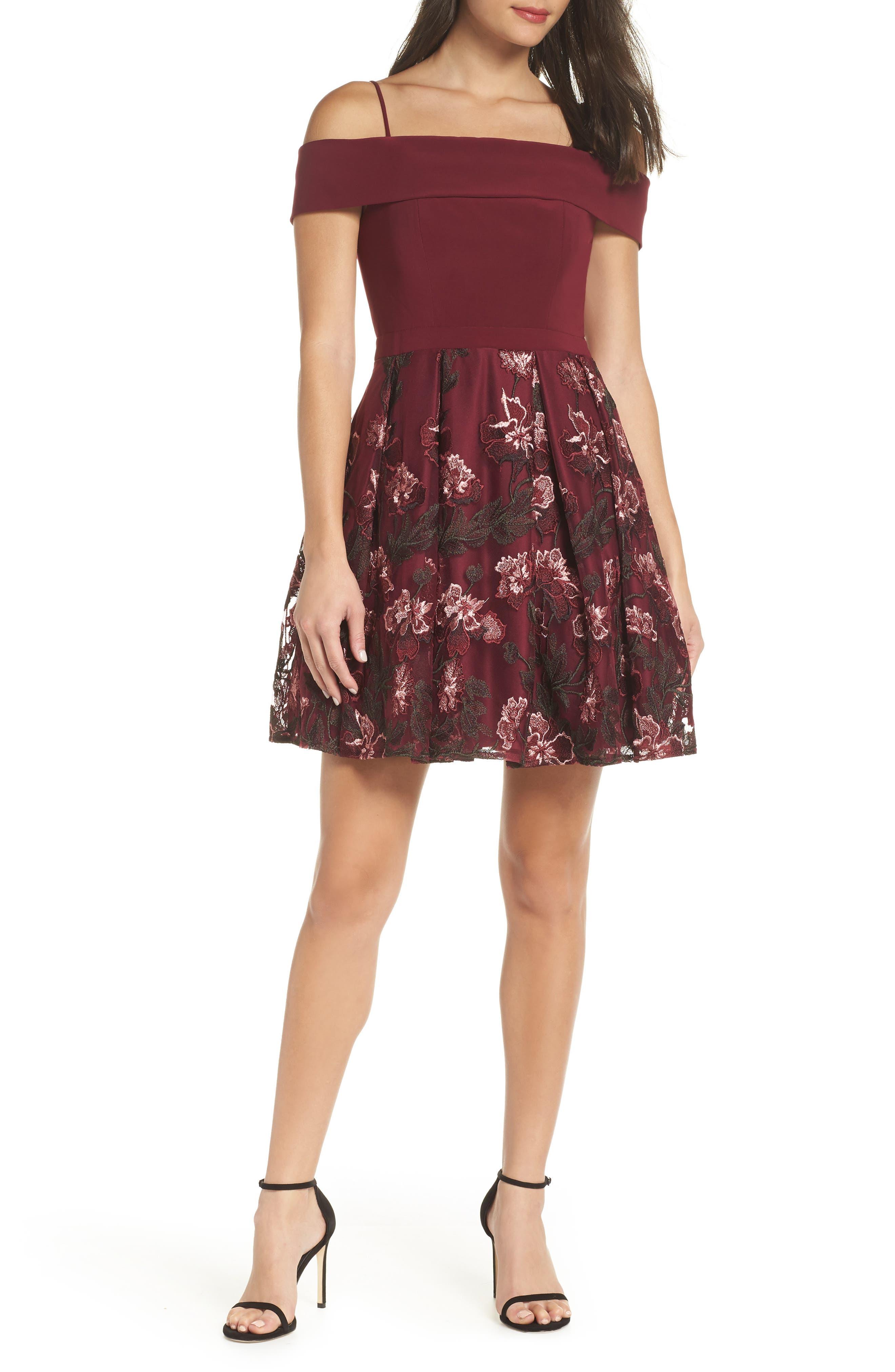 Morgan & Co. Embellished Cold Shoulder Fit & Flare Dress, Burgundy