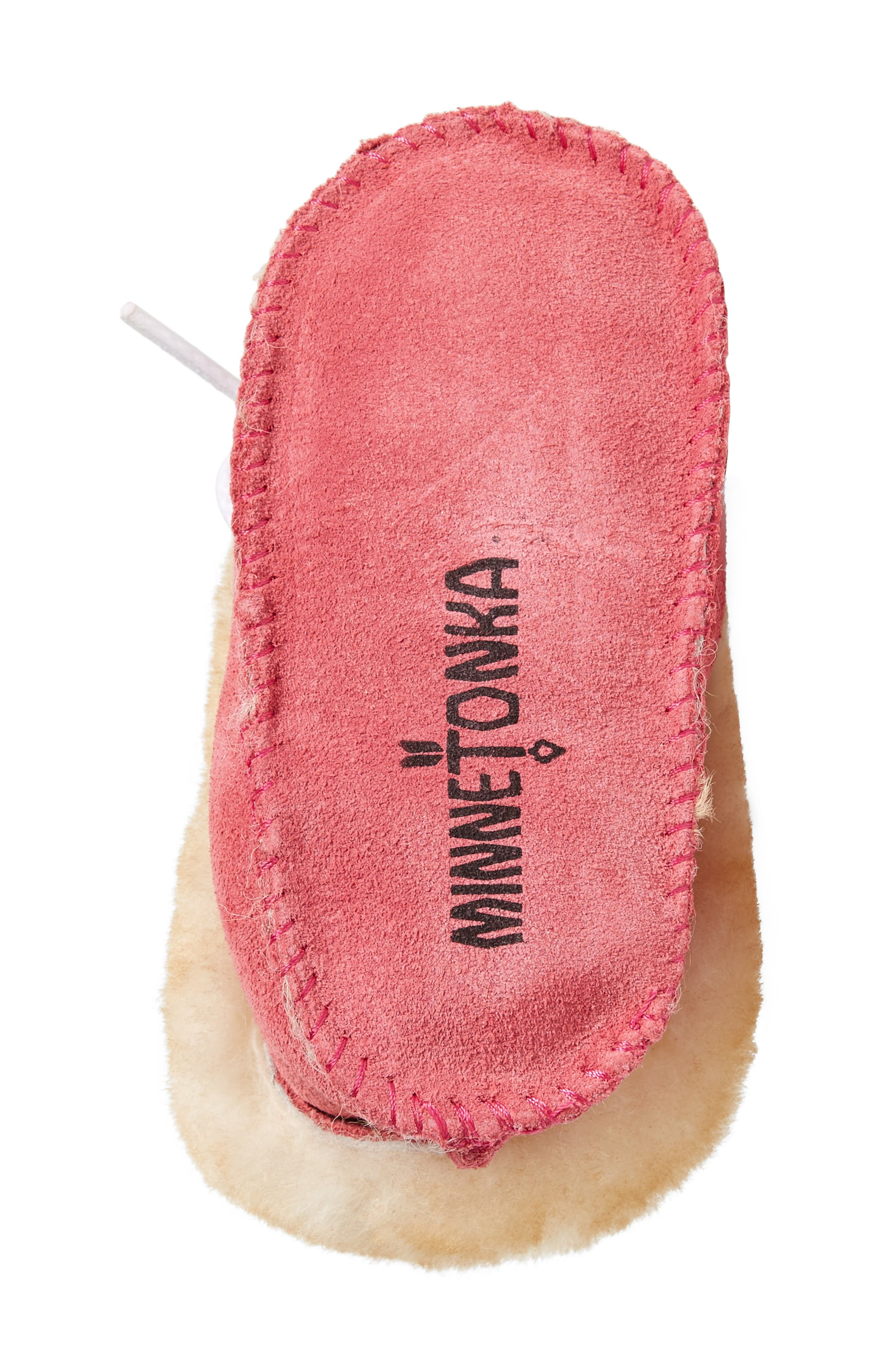 Genuine Shearling Crib Moccasin,                             Alternate thumbnail 6, color,                             HOT PINK