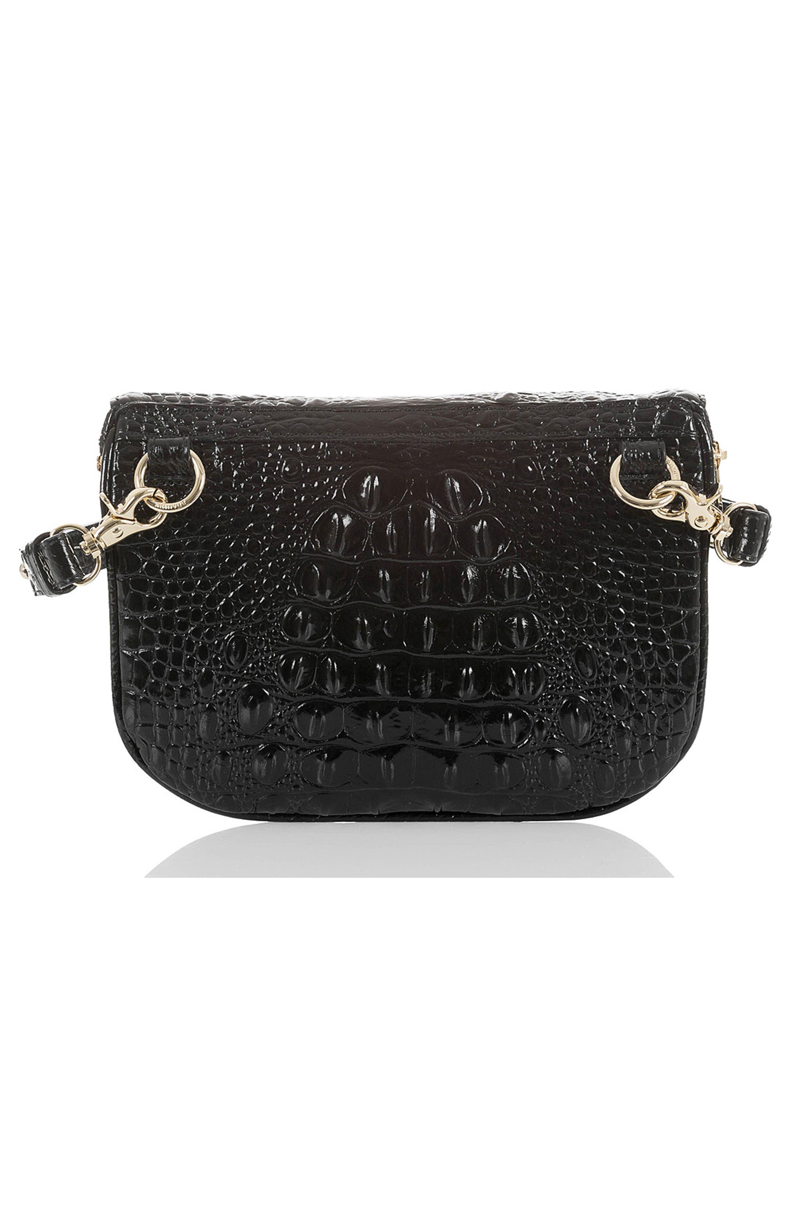 Croc Embossed Leather Belt Bag,                             Alternate thumbnail 3, color,                             BLACK