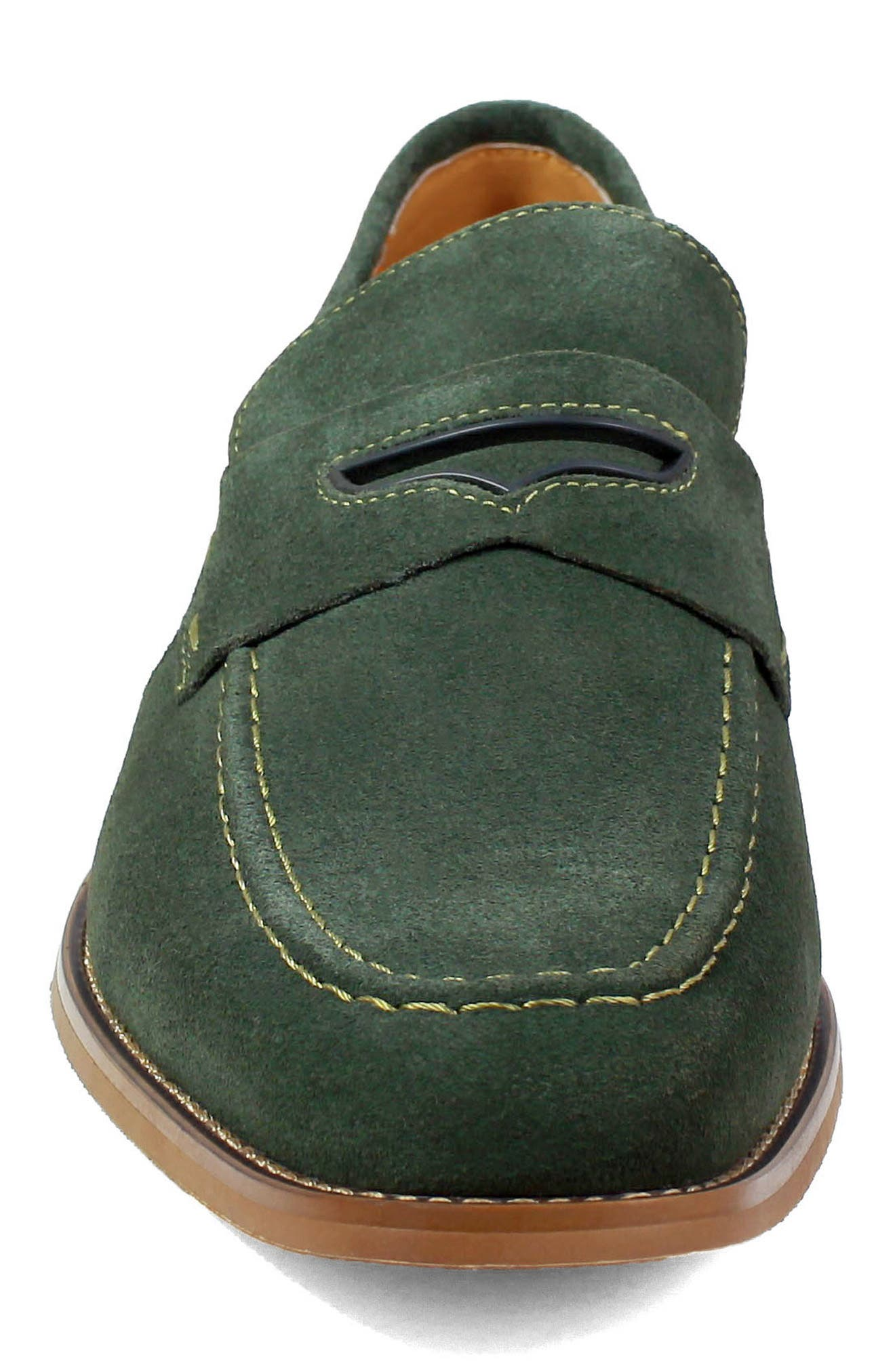 Colfax Apron Toe Penny Loafer,                             Alternate thumbnail 4, color,                             DARK GREEN SUEDE