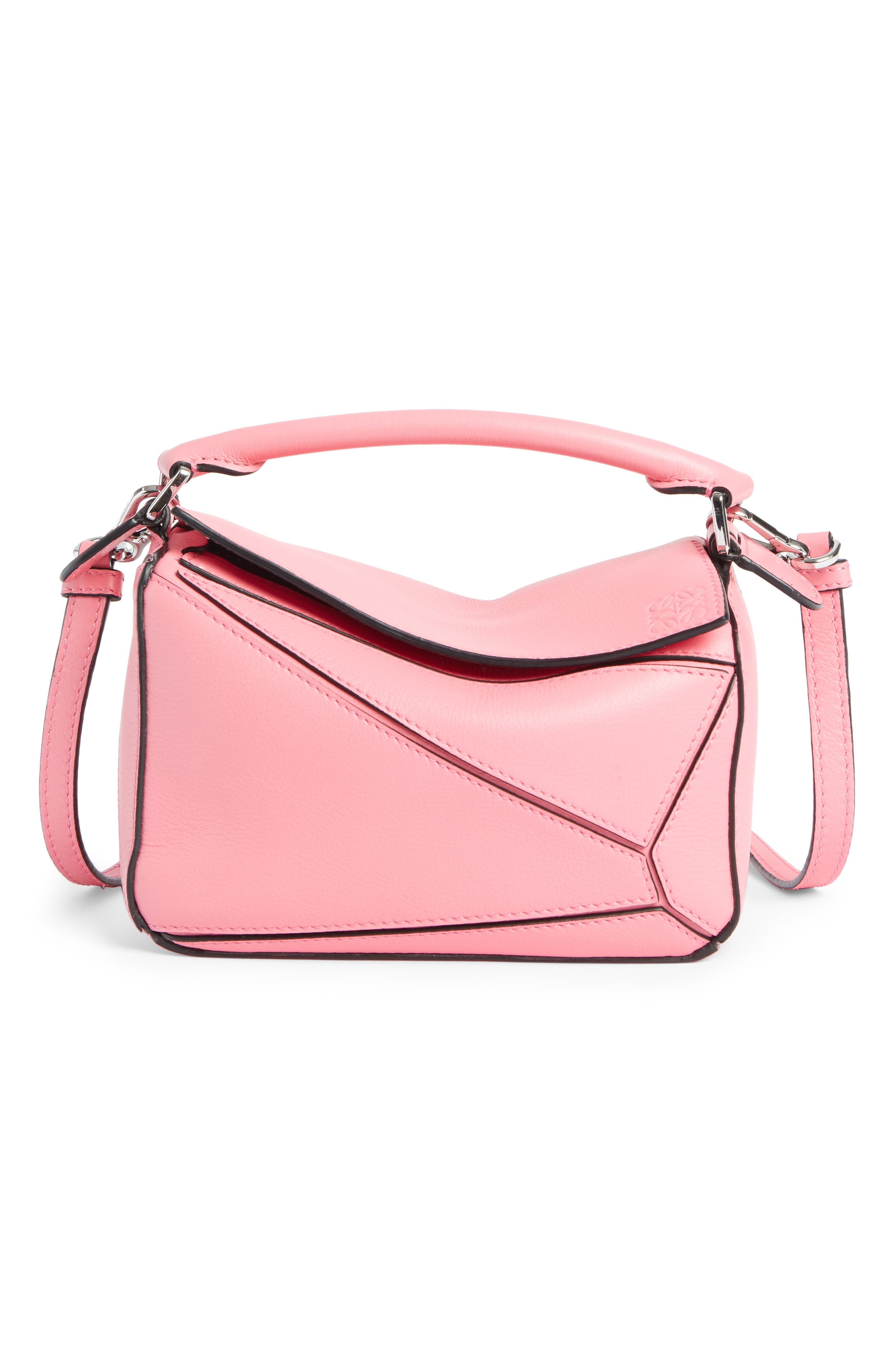 Mini Puzzle Calfskin Leather Bag - Pink in Wild Rose