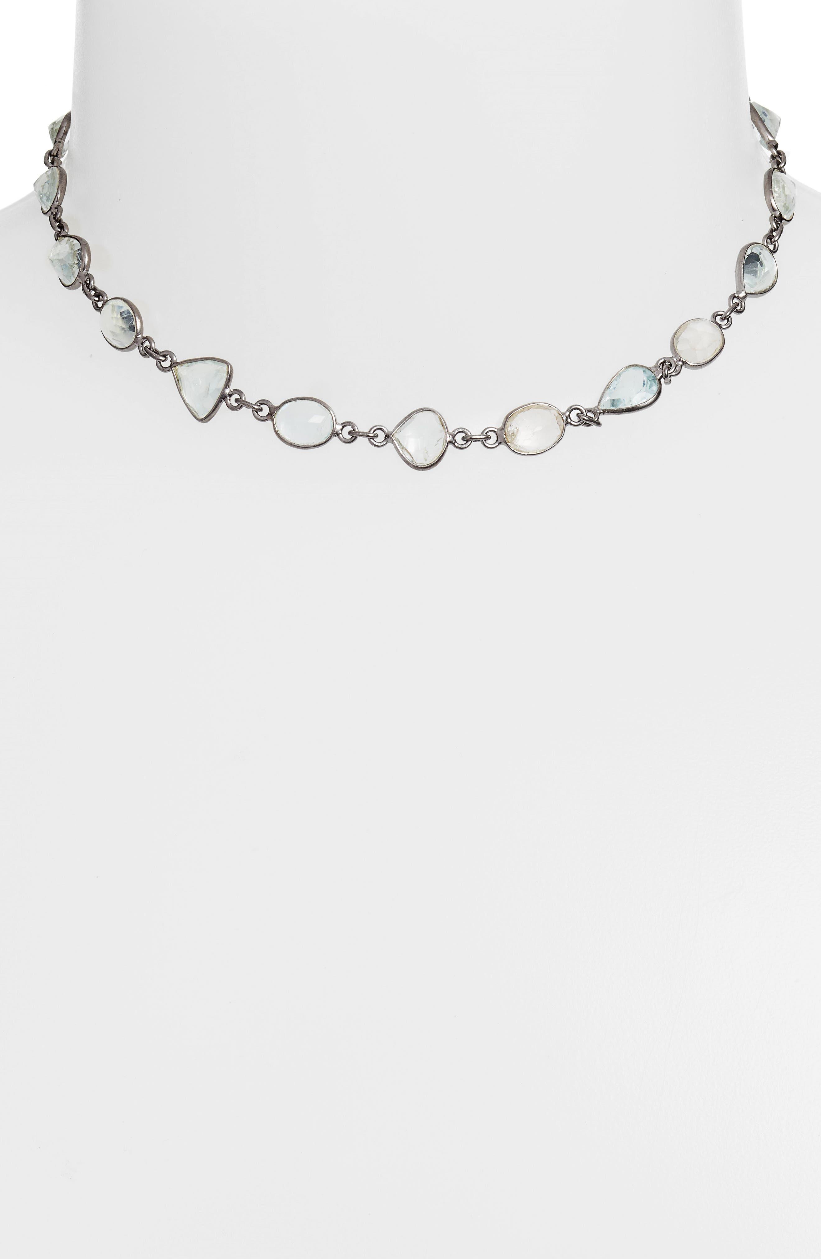 Sadie Collar Necklace,                             Alternate thumbnail 2, color,                             ROSE CUT AQUAMARINE