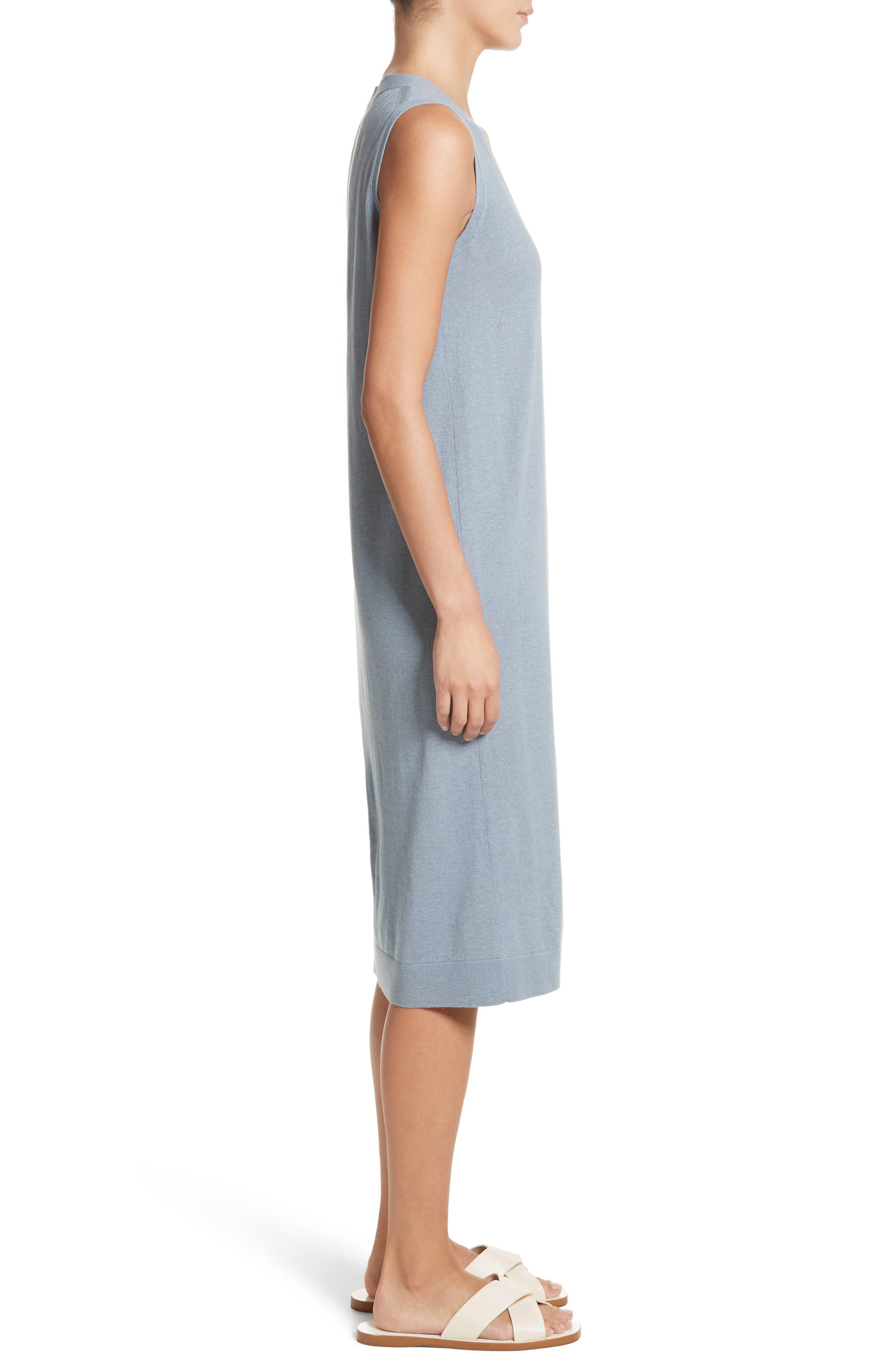 V-Neck Cashmere & Silk Knit Dress,                             Alternate thumbnail 3, color,                             411