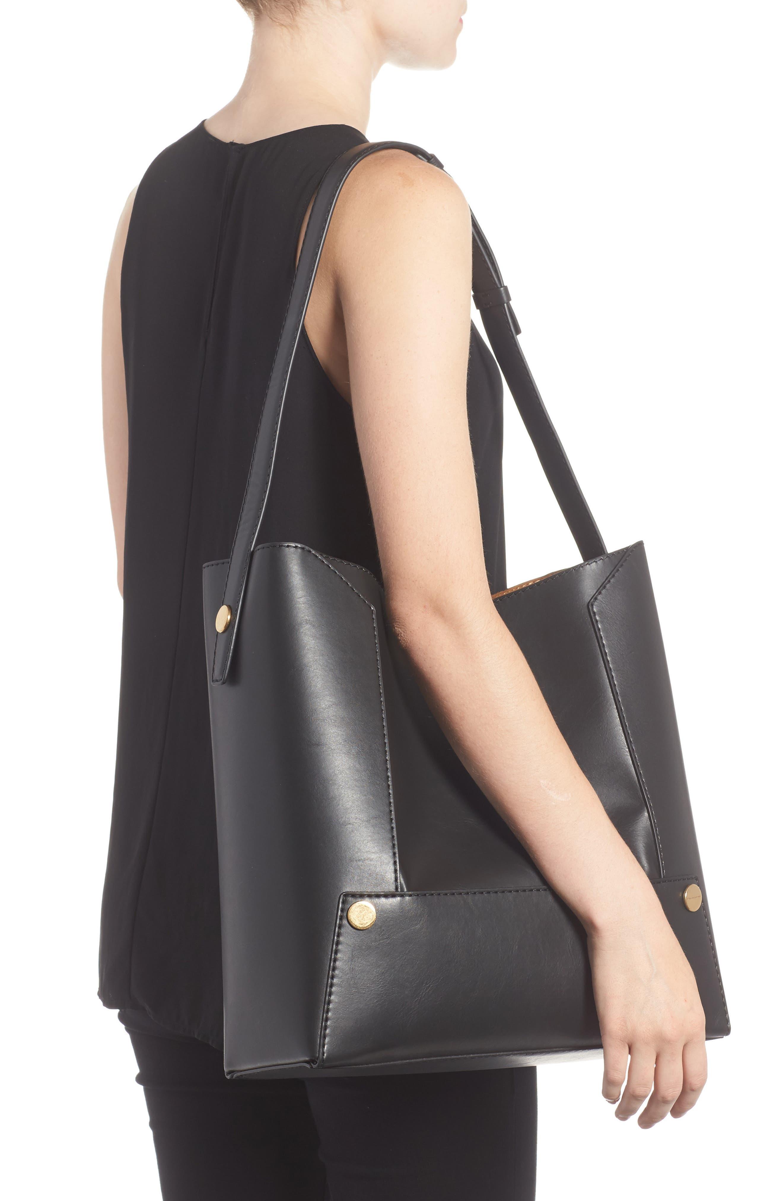 Faux Leather Bucket Bag,                             Alternate thumbnail 2, color,                             001