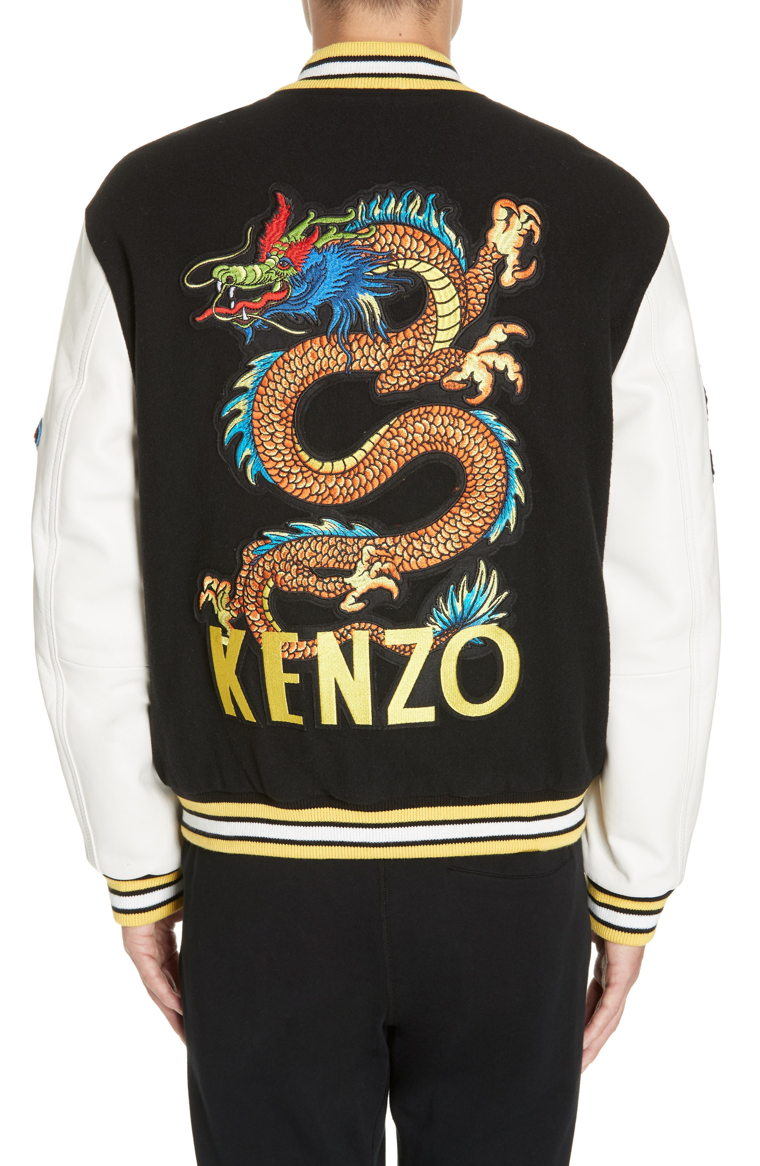 Embroidered Varsity Jacket,                             Alternate thumbnail 2, color,                             001