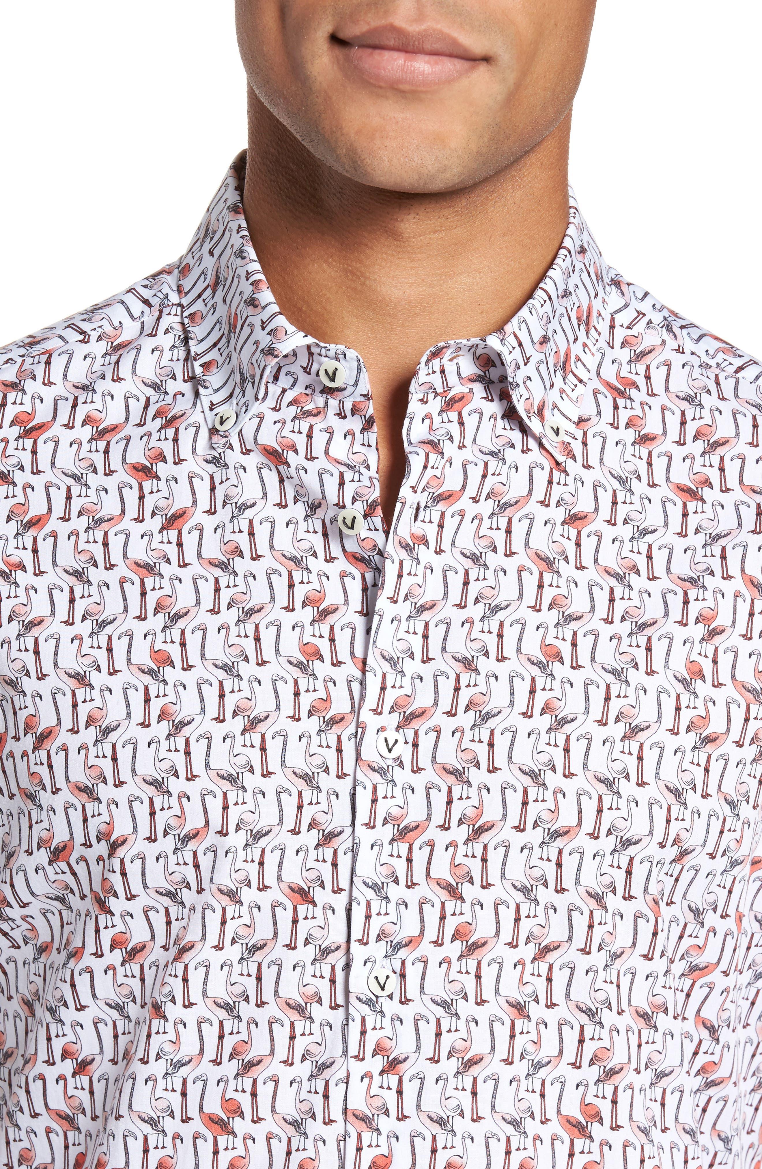 Slim Fit Flamingo Sport Shirt,                             Alternate thumbnail 4, color,                             950
