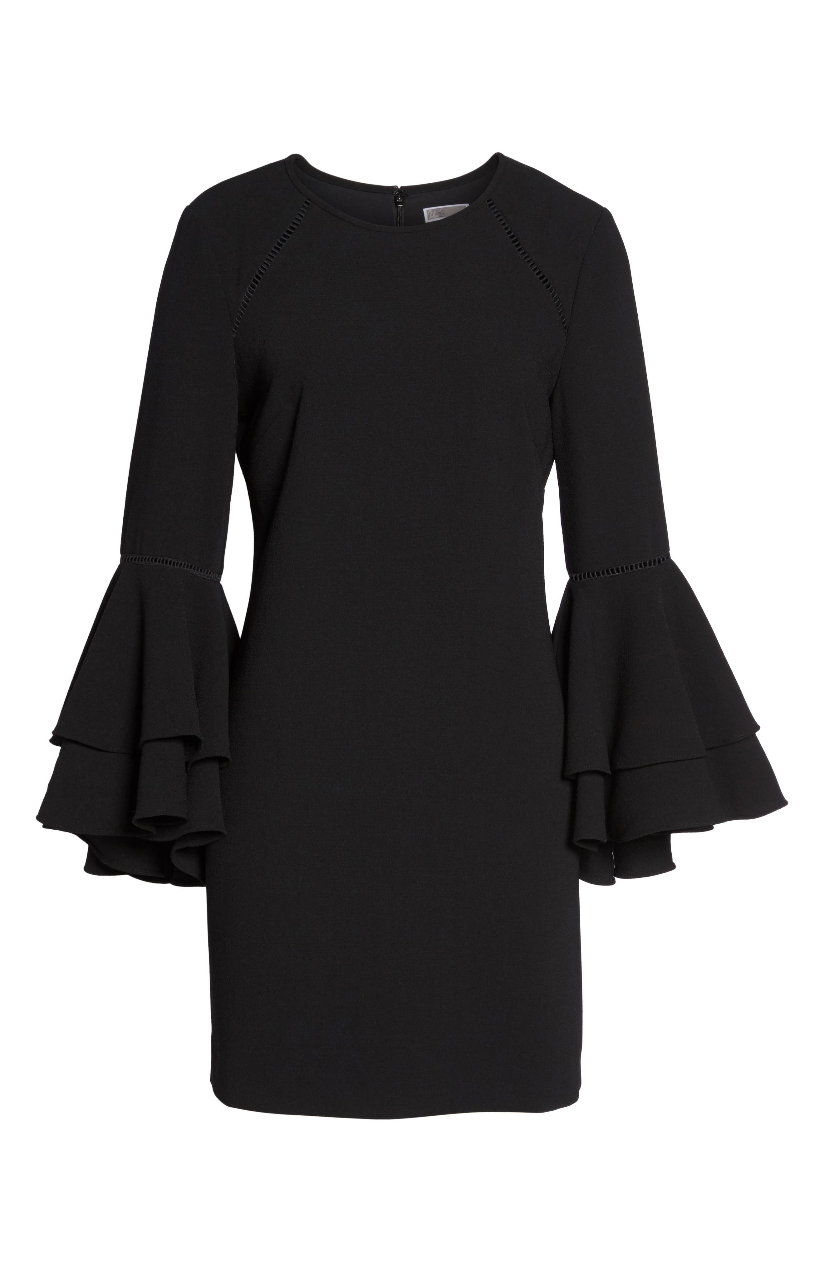 Tiered Bell Sleeve Shift Dress,                             Alternate thumbnail 6, color,                             001