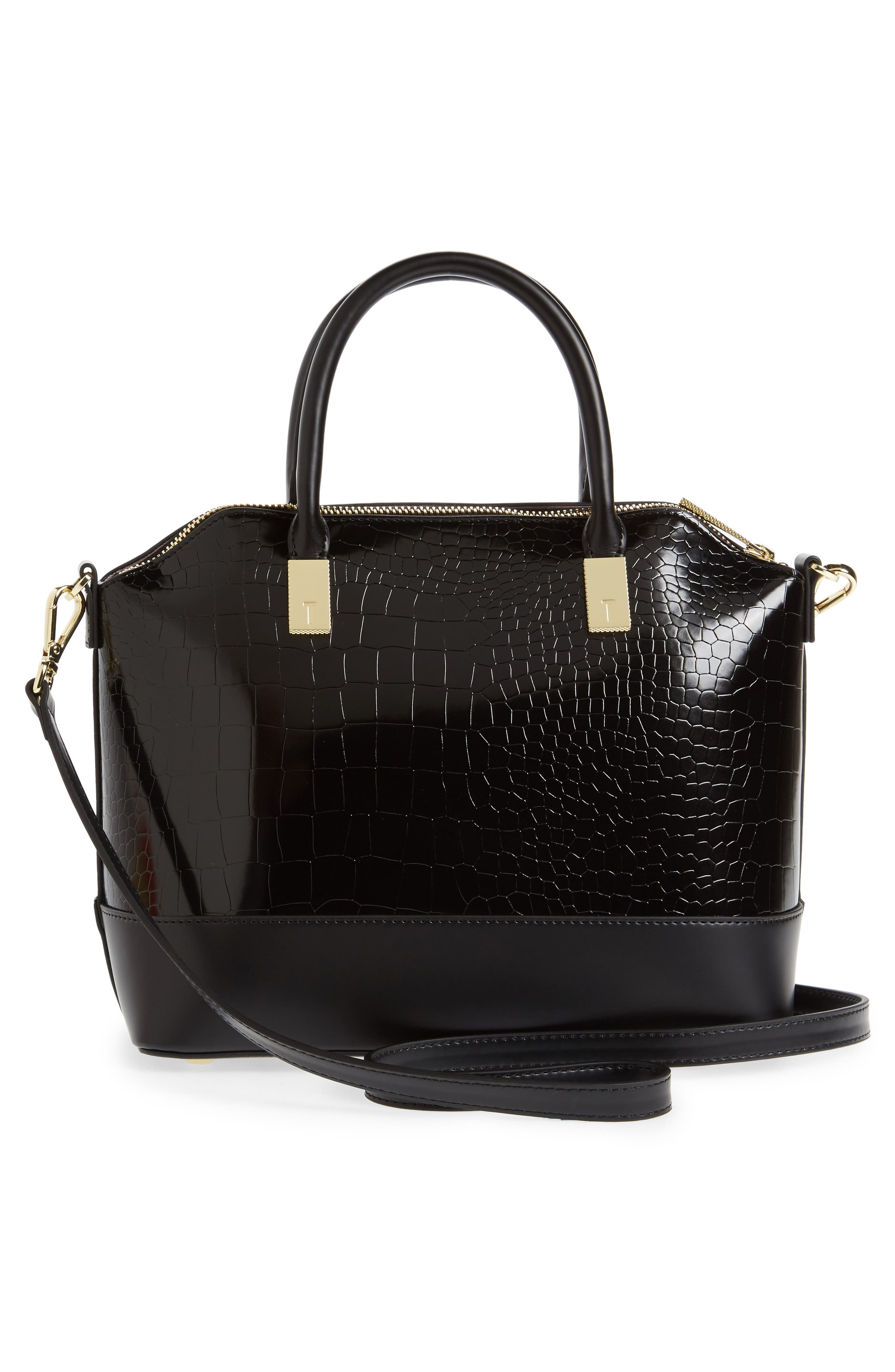 Camilee Croc Embossed Leather Top Handle Tote,                             Alternate thumbnail 5, color,