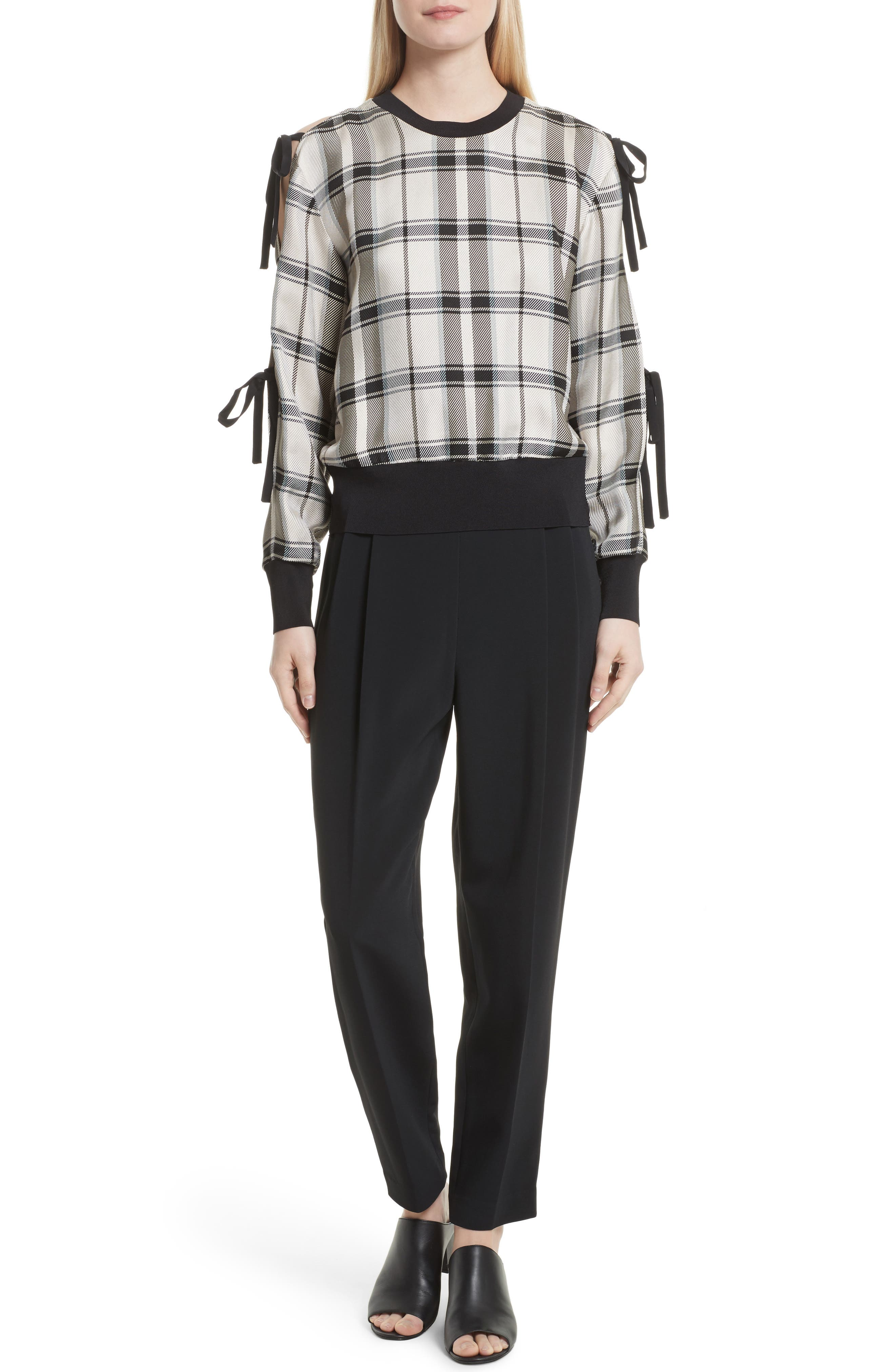 Tie Sleeve Check Pullover,                             Alternate thumbnail 6, color,                             907