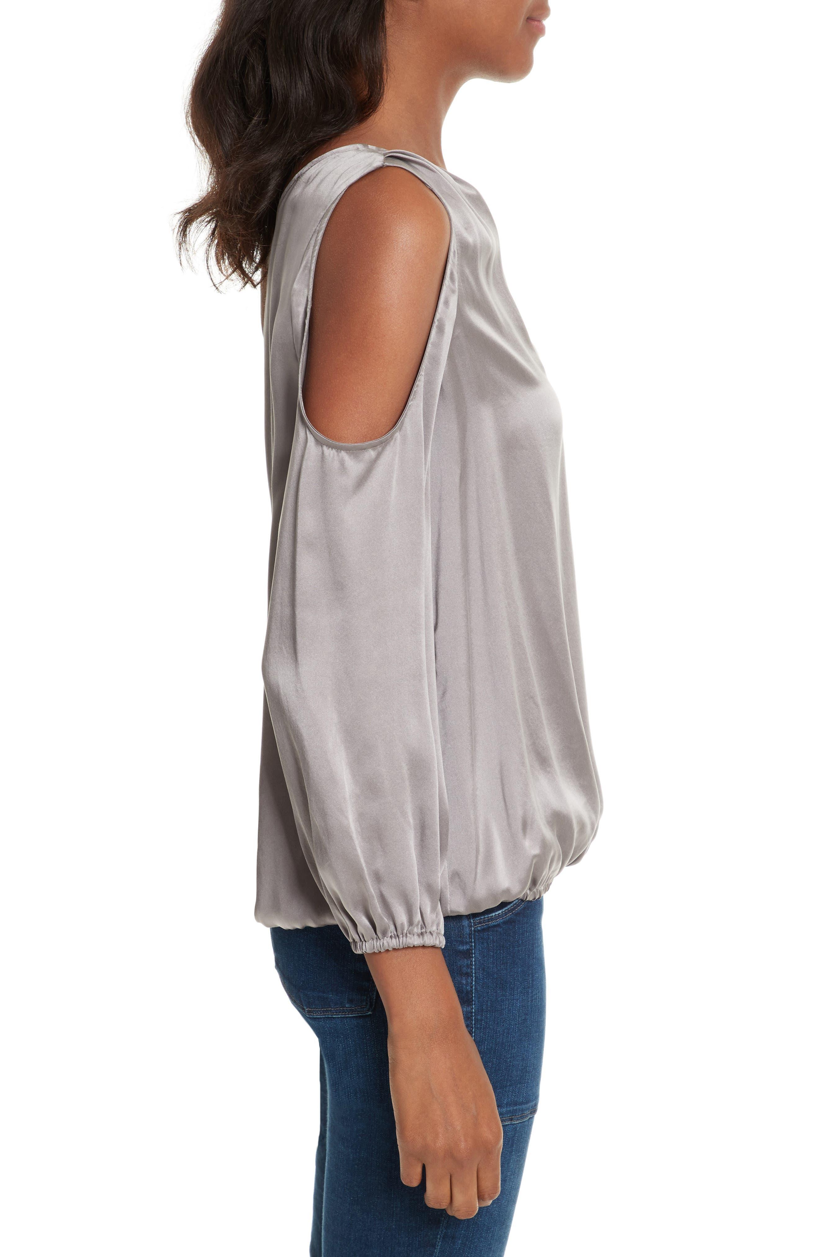 Abatha One-Shoulder Silk Top,                             Alternate thumbnail 3, color,