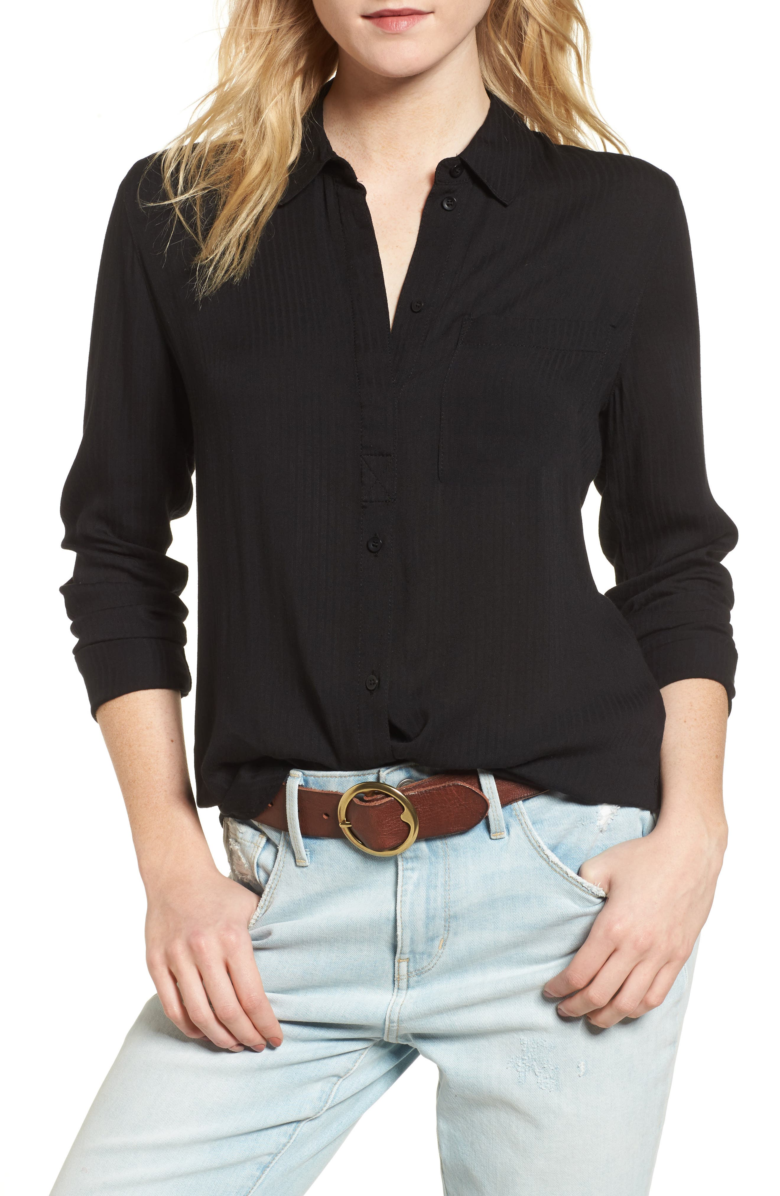 Dobby Classic Shirt,                         Main,                         color, BLACK