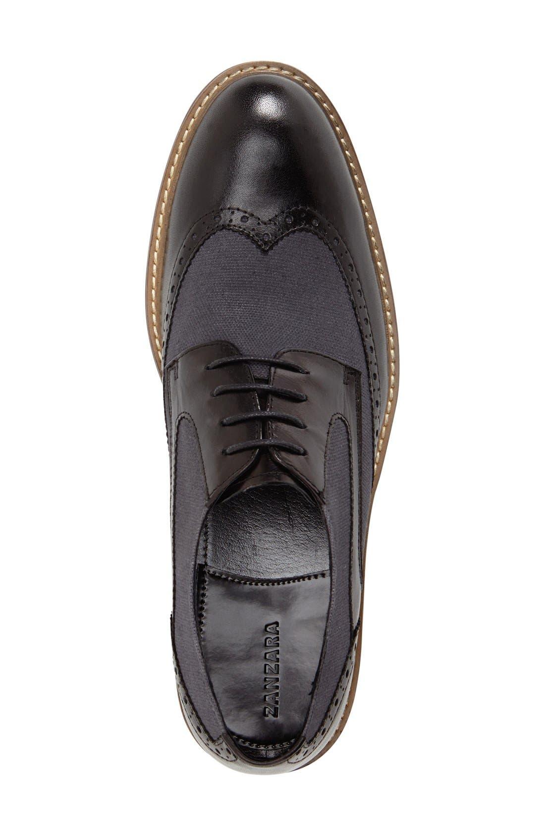 'Money' Spectator Shoe,                             Alternate thumbnail 3, color,                             BLACK LEATHER