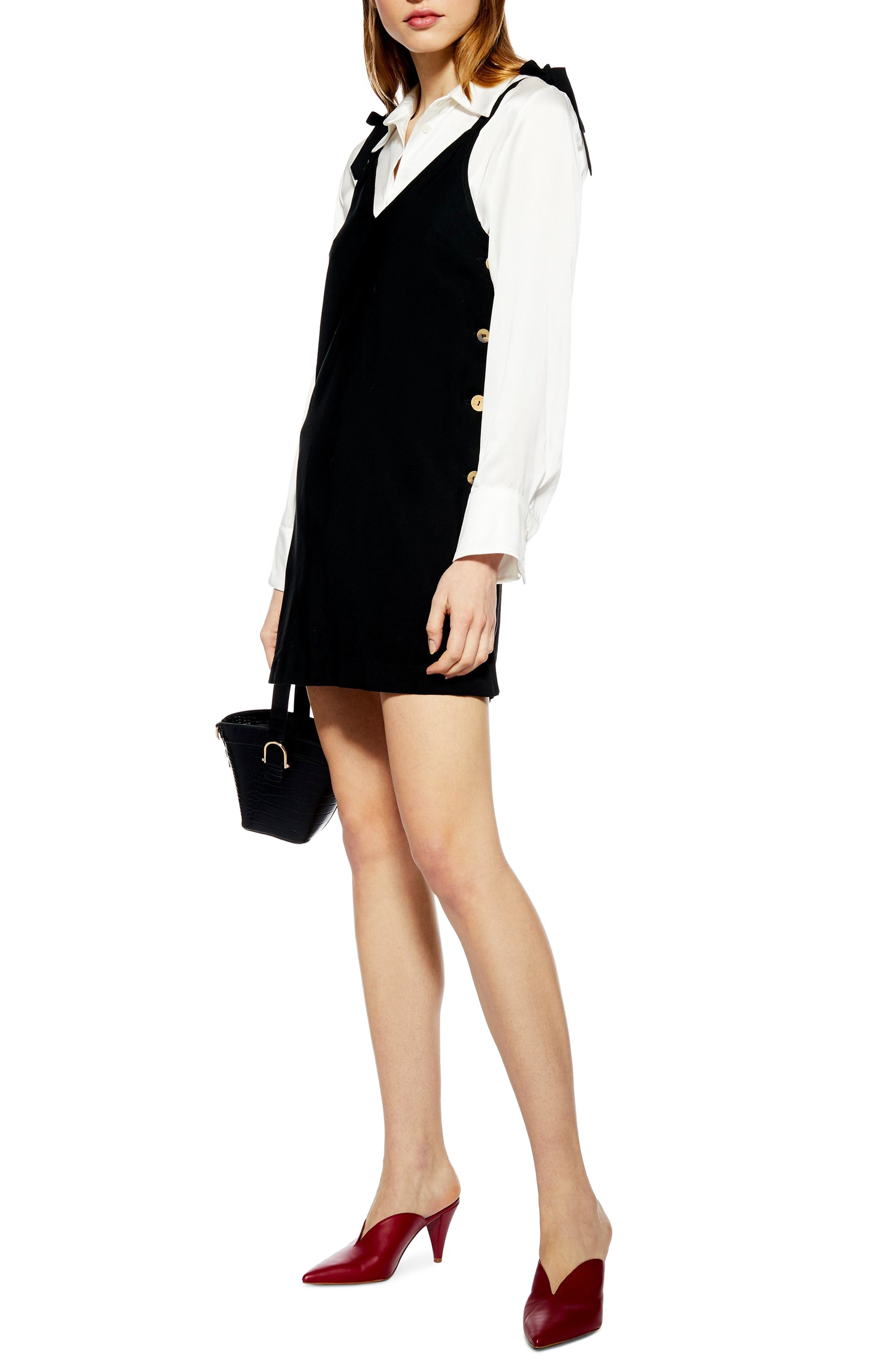 Topshop Tilda Button Mini Slipdress, US (fits like 0) - Black