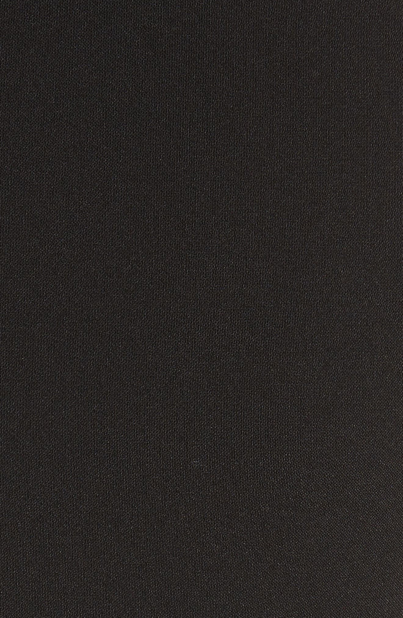 ruffle front crepe dress,                             Alternate thumbnail 5, color,                             001