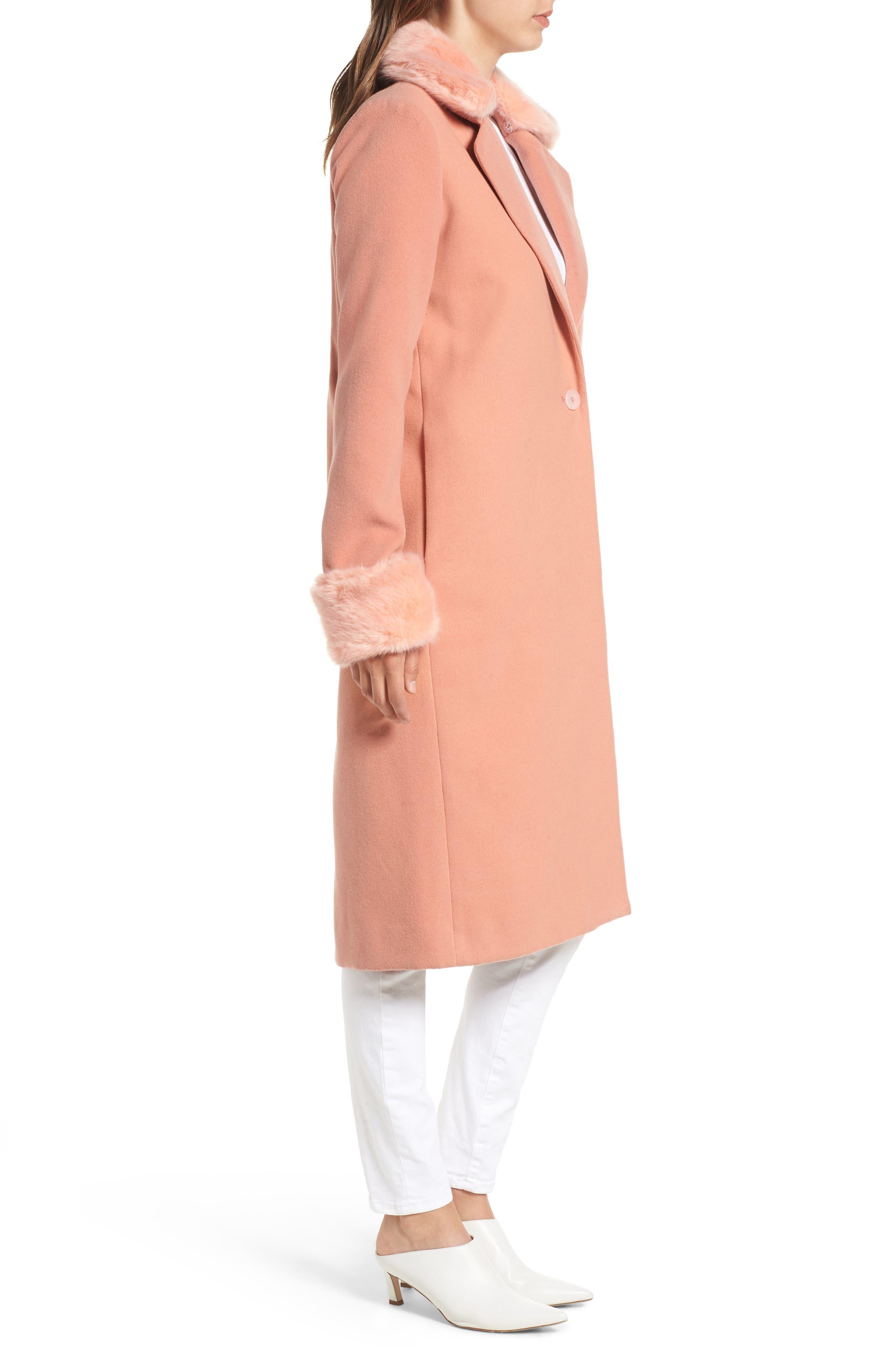 Perry Faux Fur Trim Coat,                             Alternate thumbnail 3, color,                             950