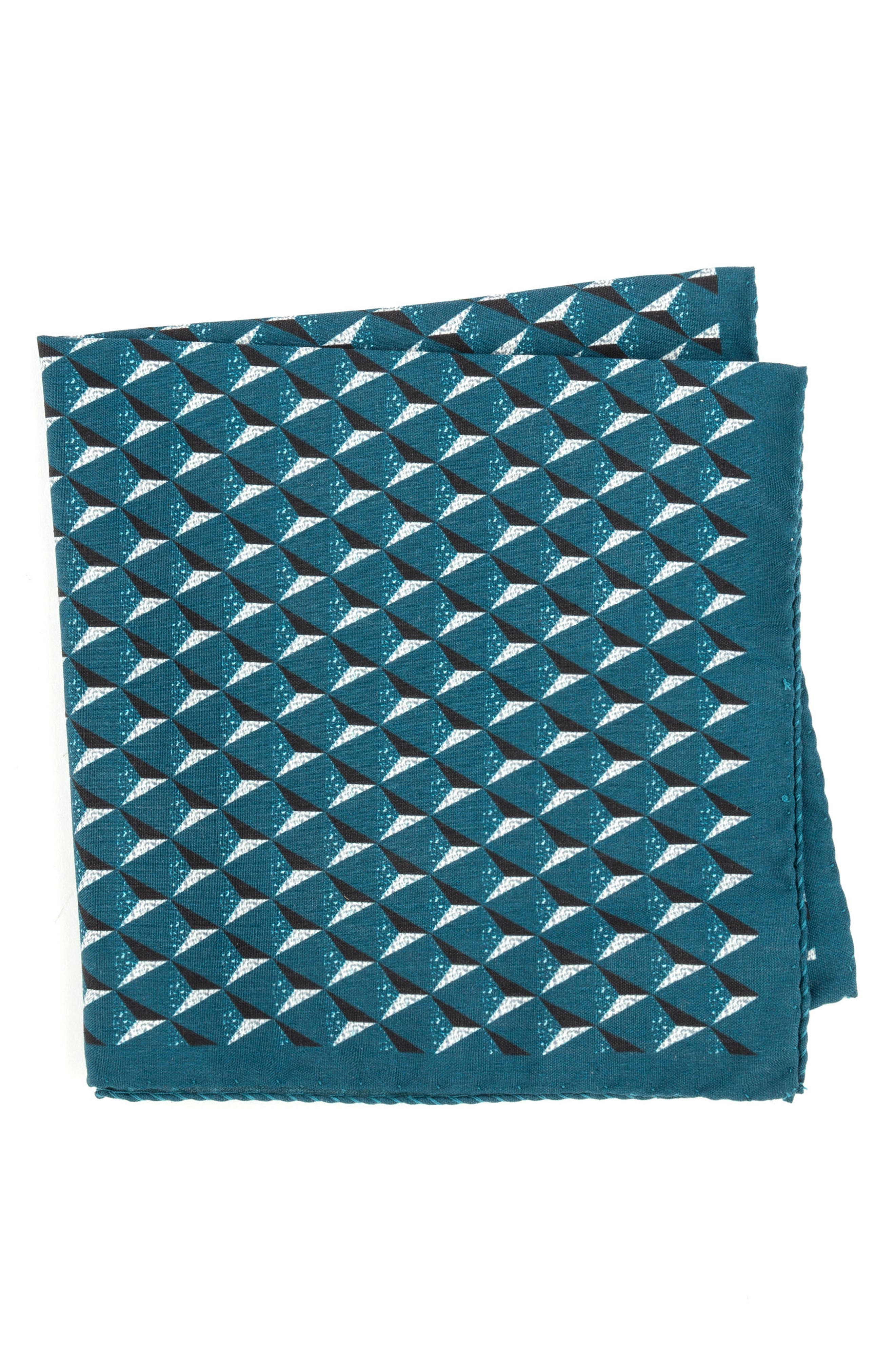 Geometric Silk Pocket Square,                             Main thumbnail 4, color,