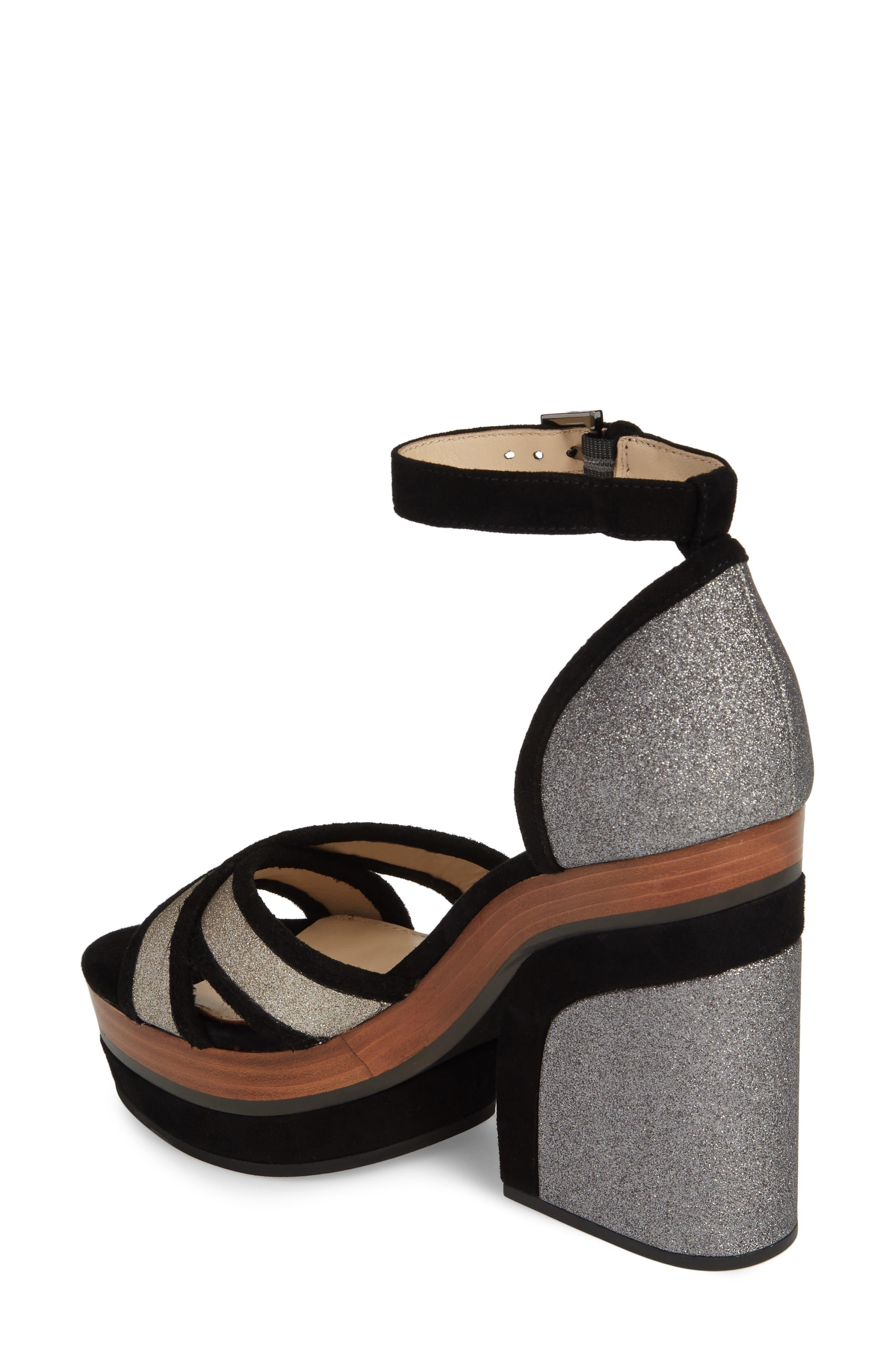 Paloma Ankle Strap Sandal,                             Alternate thumbnail 2, color,                             GUNMETAL GLITTER
