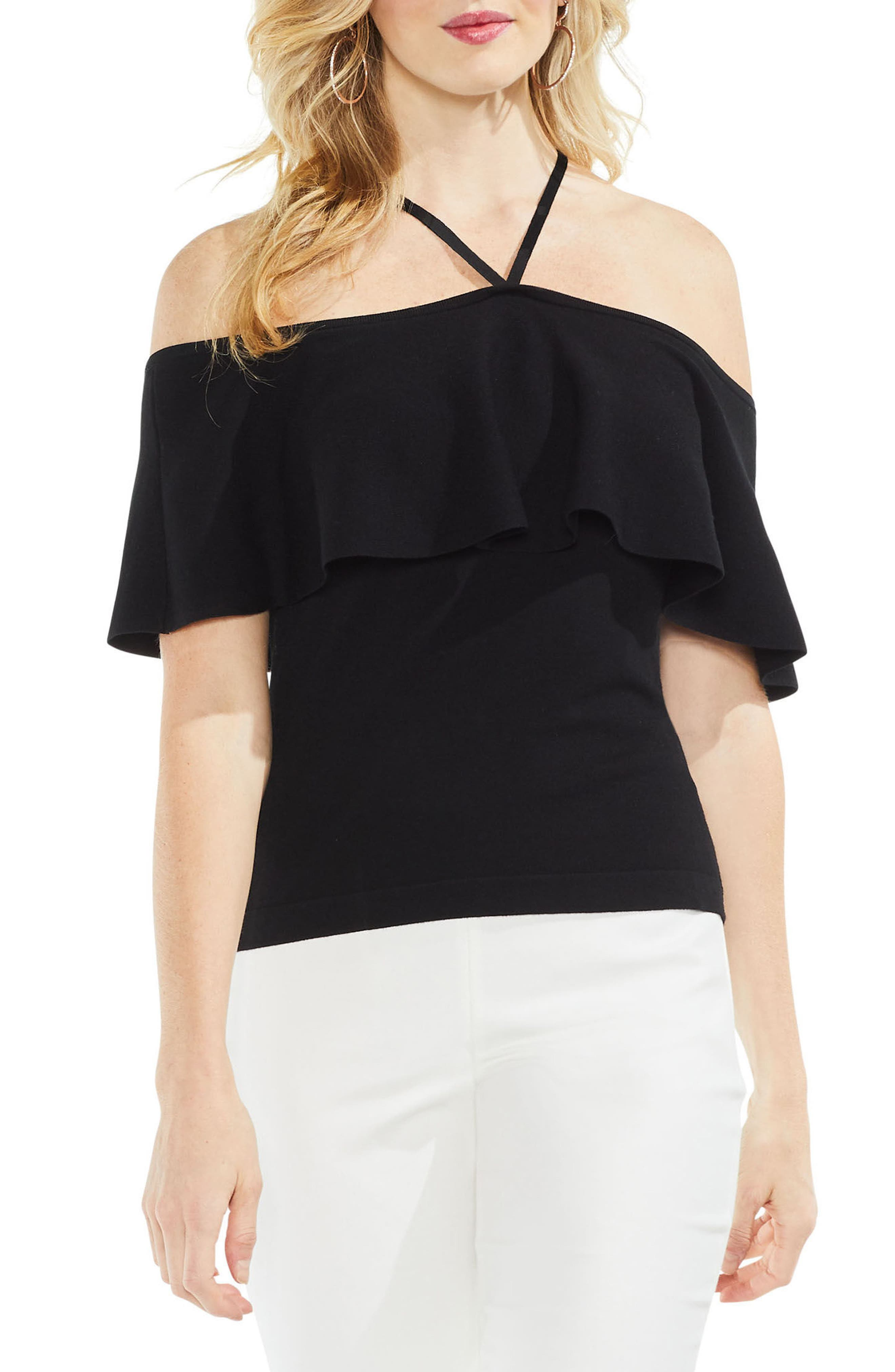 Ruffle Off the Shoulder Halter Sweater,                         Main,                         color, 006