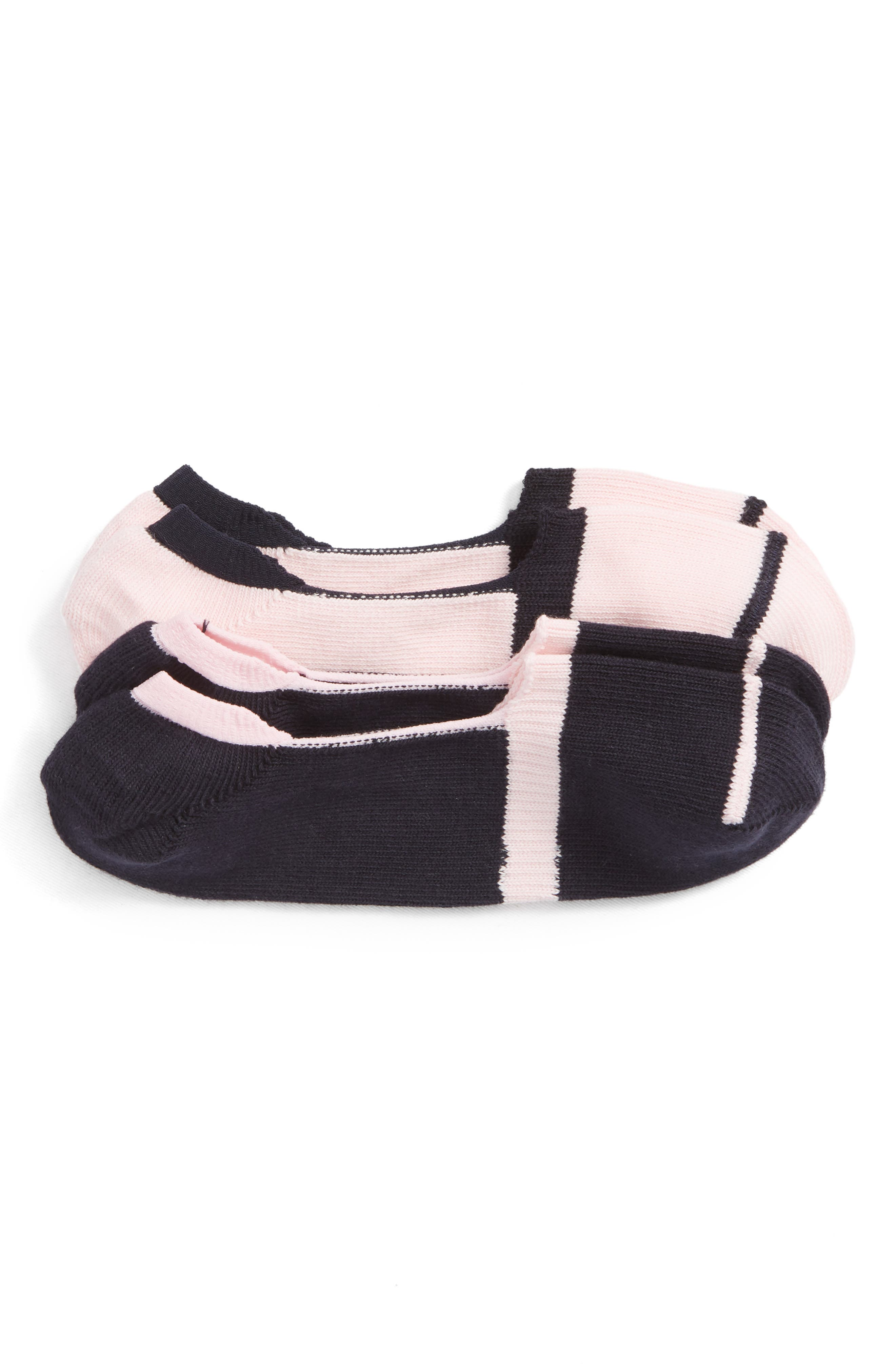 2-Pack Loafer Liner Socks,                         Main,                         color, NAVY/ PINK