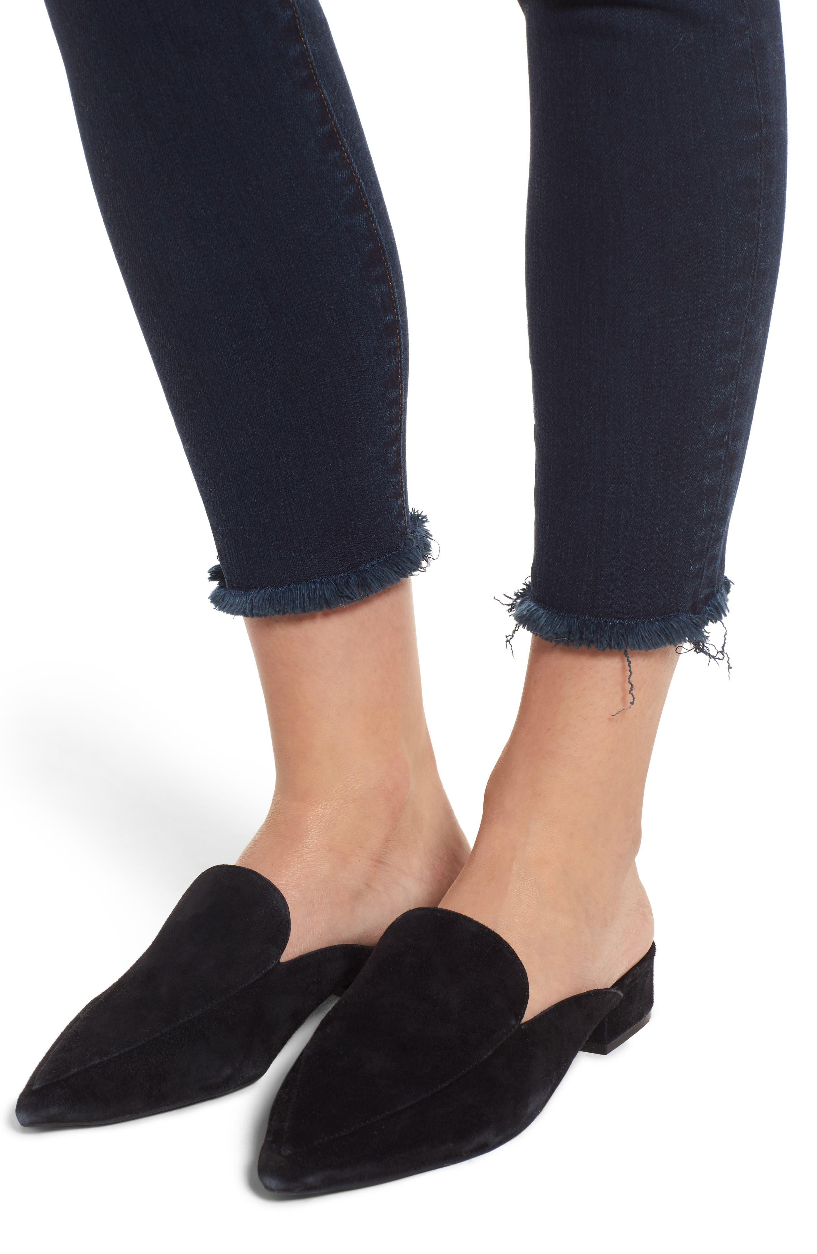 Donna Frayed Skinny Crop Jeans,                             Alternate thumbnail 4, color,                             491