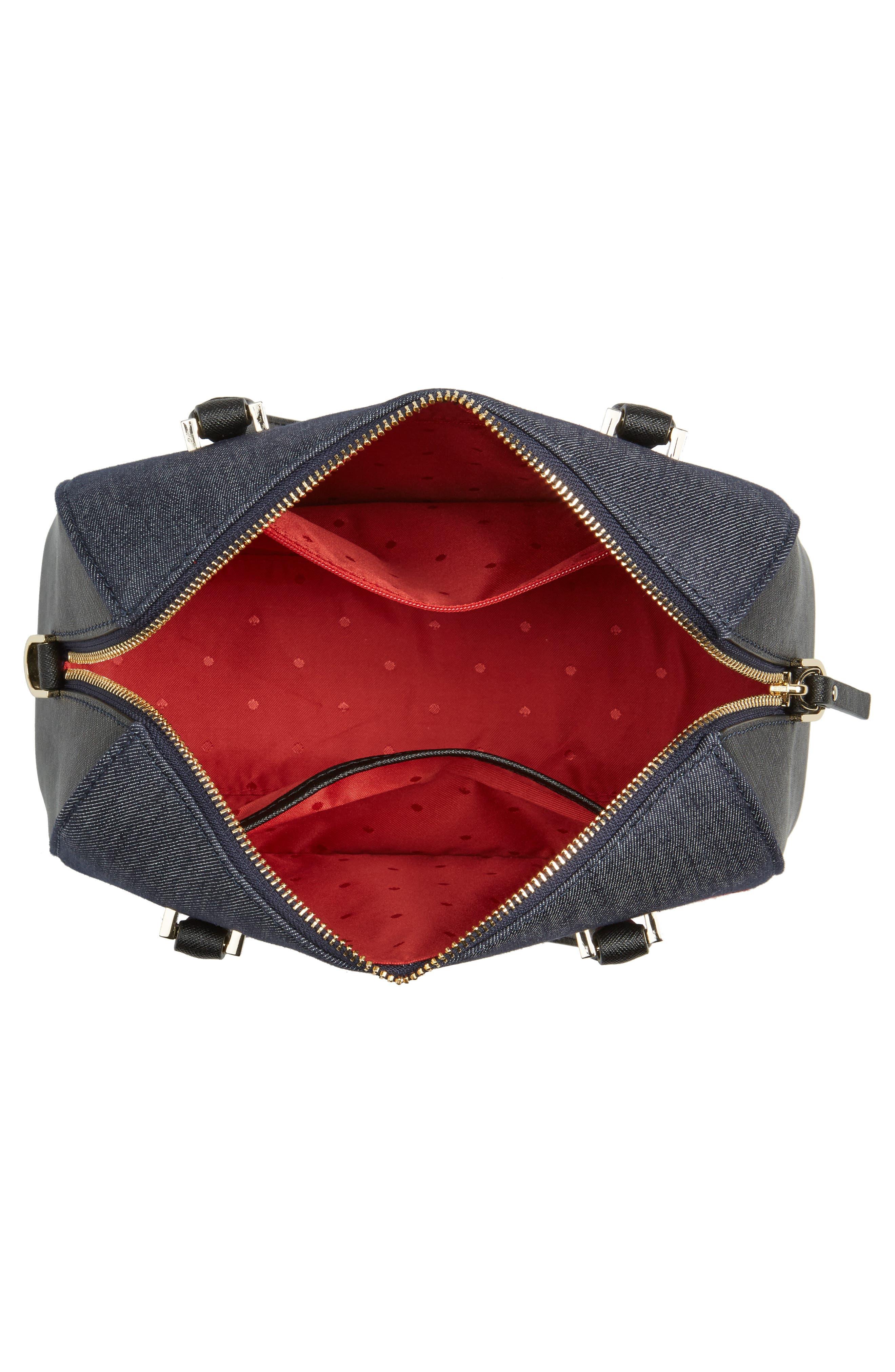 cameron street poppy large lane embroidered denim satchel,                             Alternate thumbnail 4, color,                             400