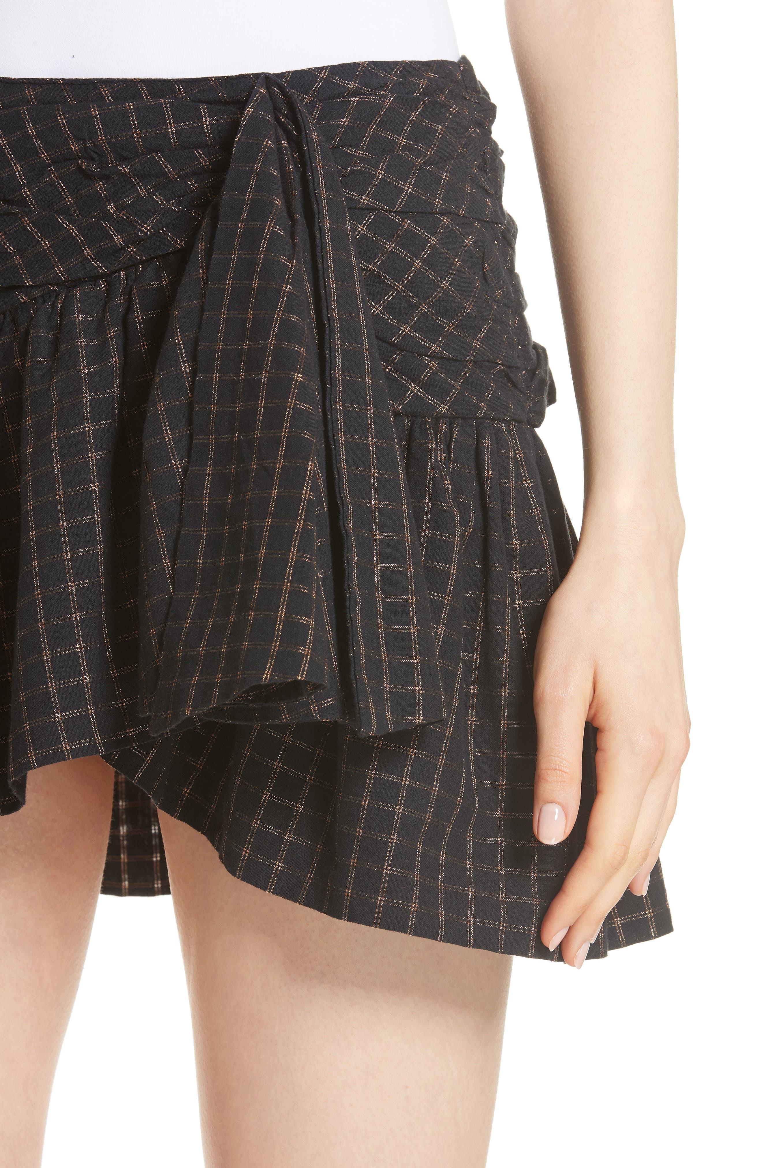 Sylvia Faux Wrap Mini Skirt,                             Alternate thumbnail 4, color,                             BLACK