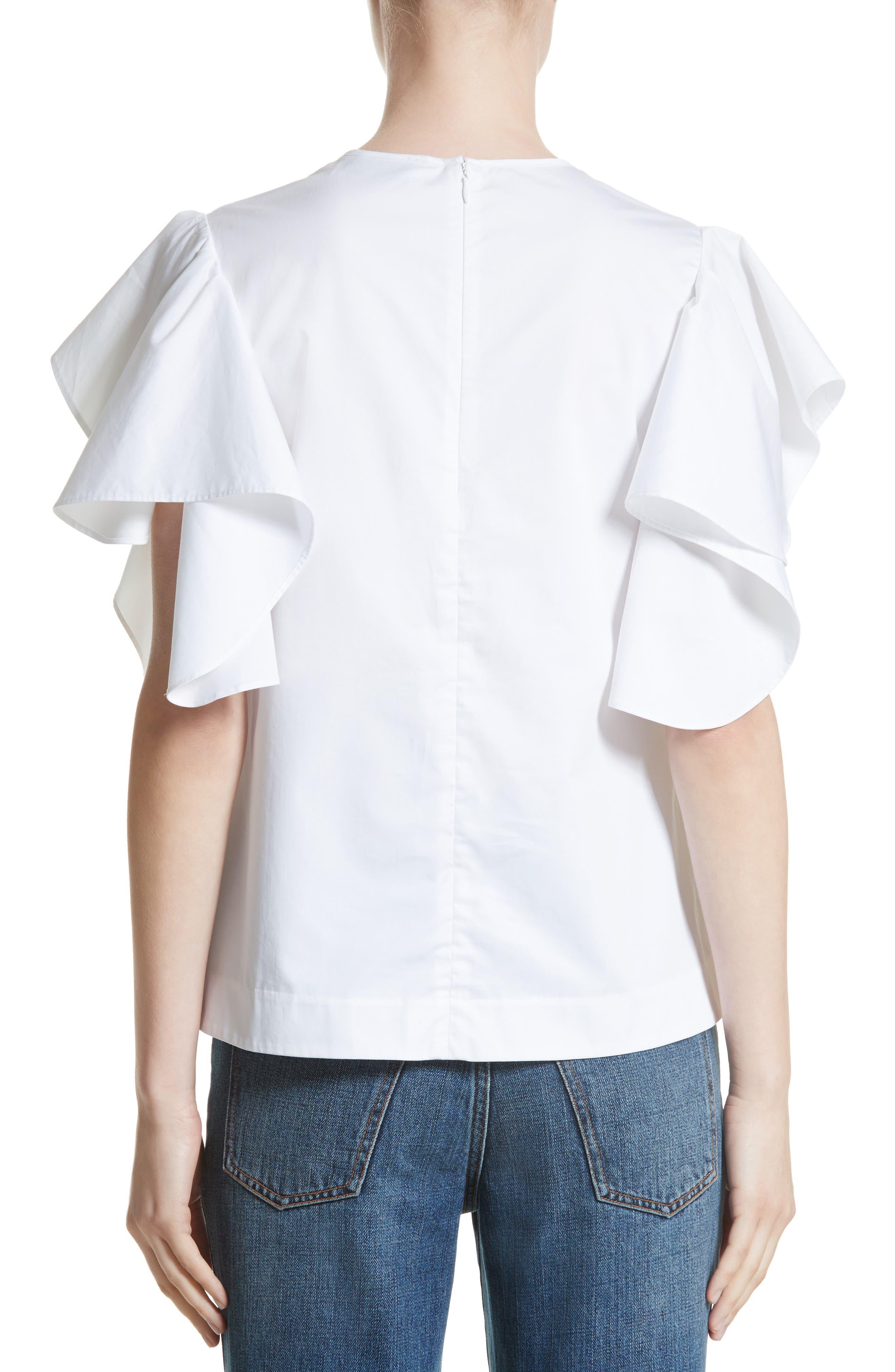 Ruffle Sleeve Cotton Poplin Top,                             Alternate thumbnail 2, color,                             100