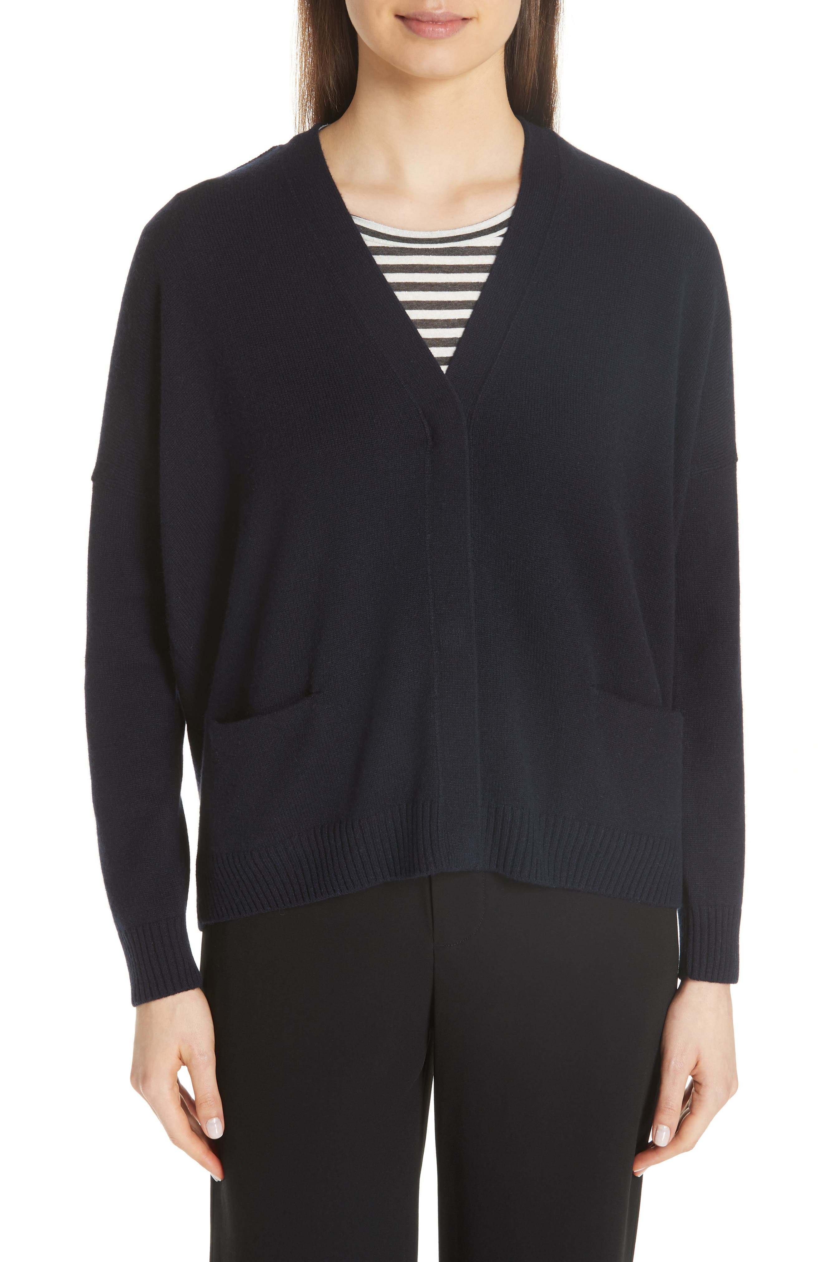 Snap Front Cashmere Cardigan,                         Main,                         color, COASTAL
