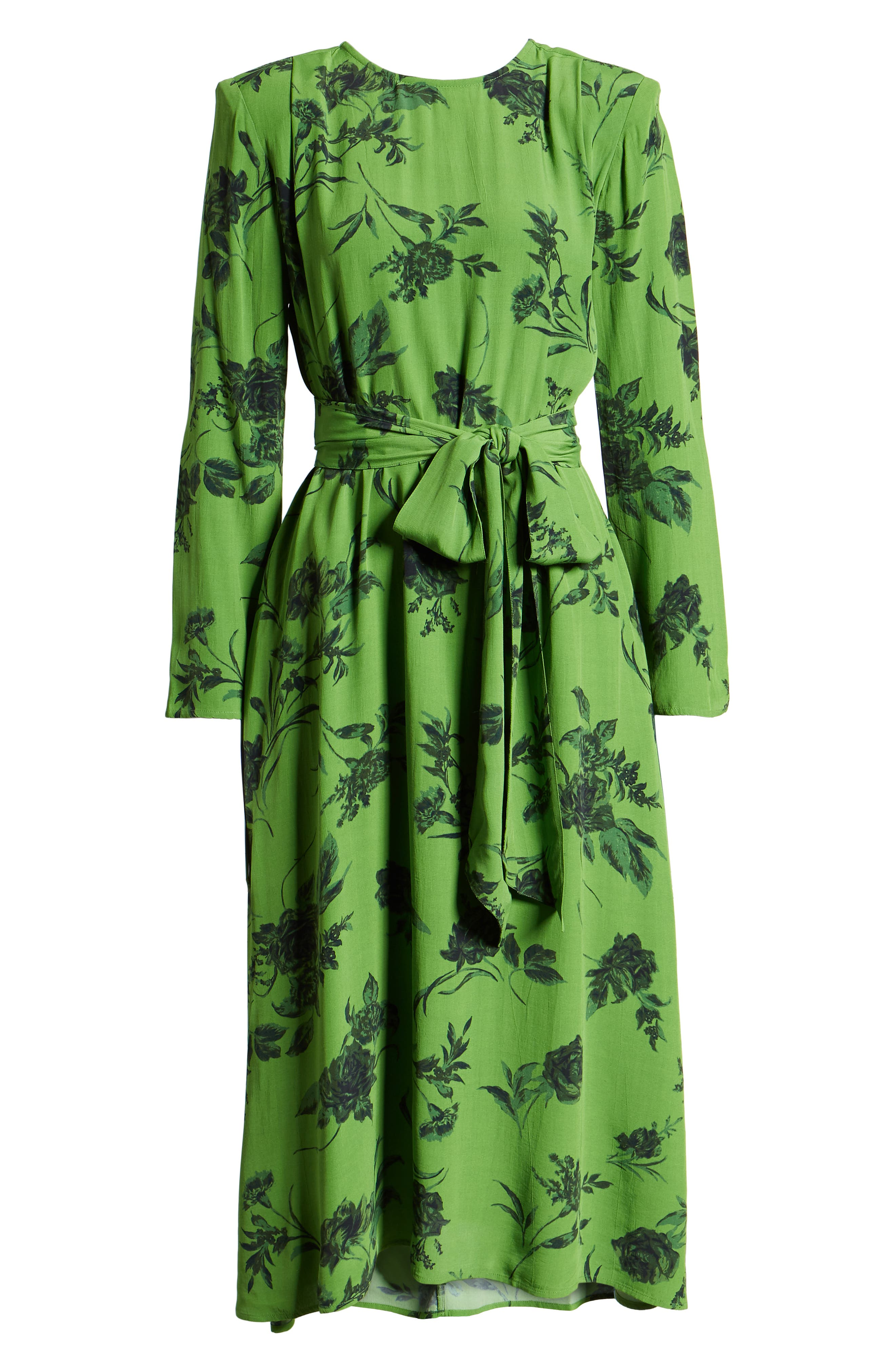 Belted Midi Dress,                             Alternate thumbnail 8, color,                             GREEN ENERGY TONAL FLORAL