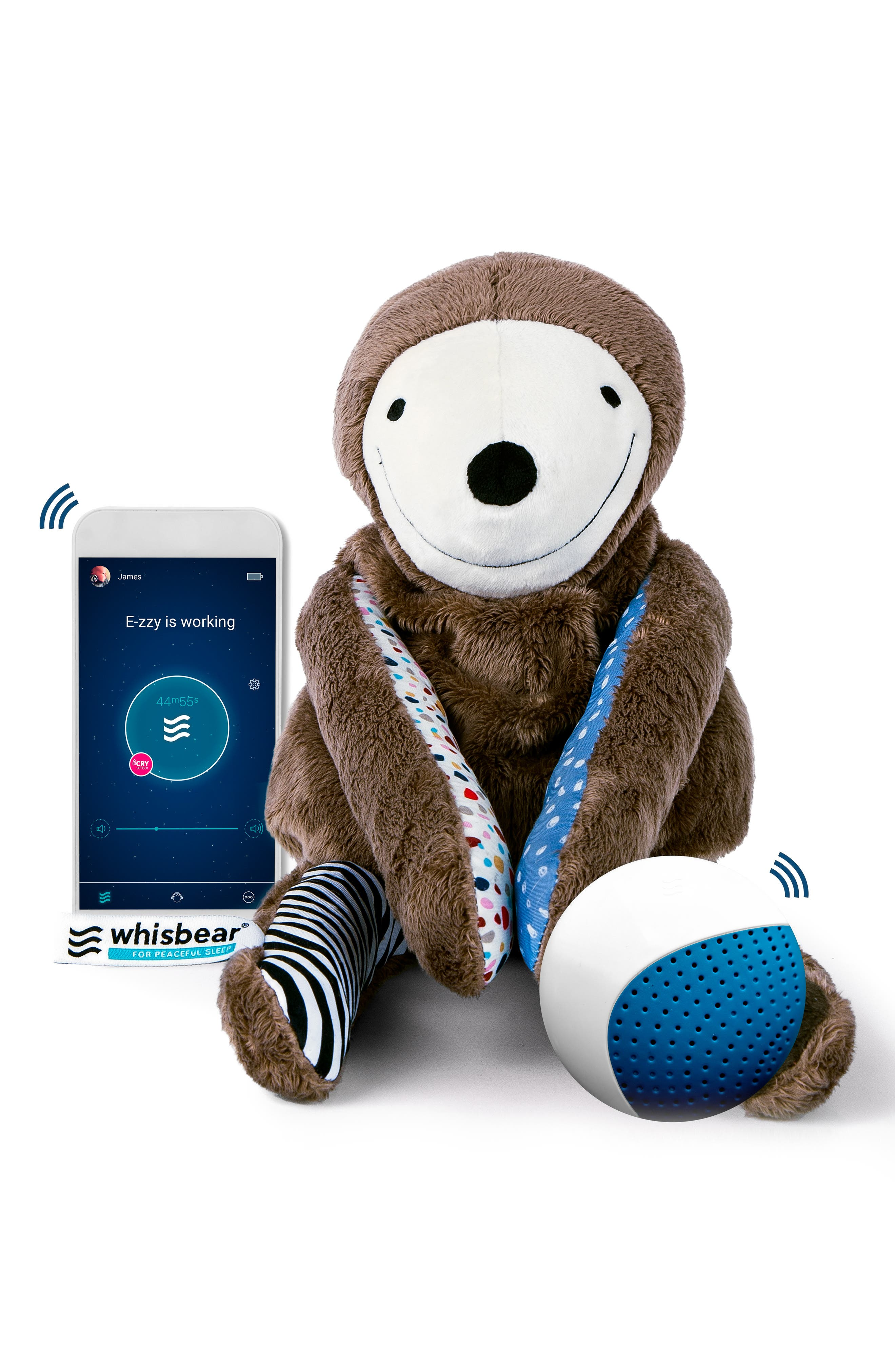 E-zzy the Sloth Baby Sleep Machine, Main, color, BROWN