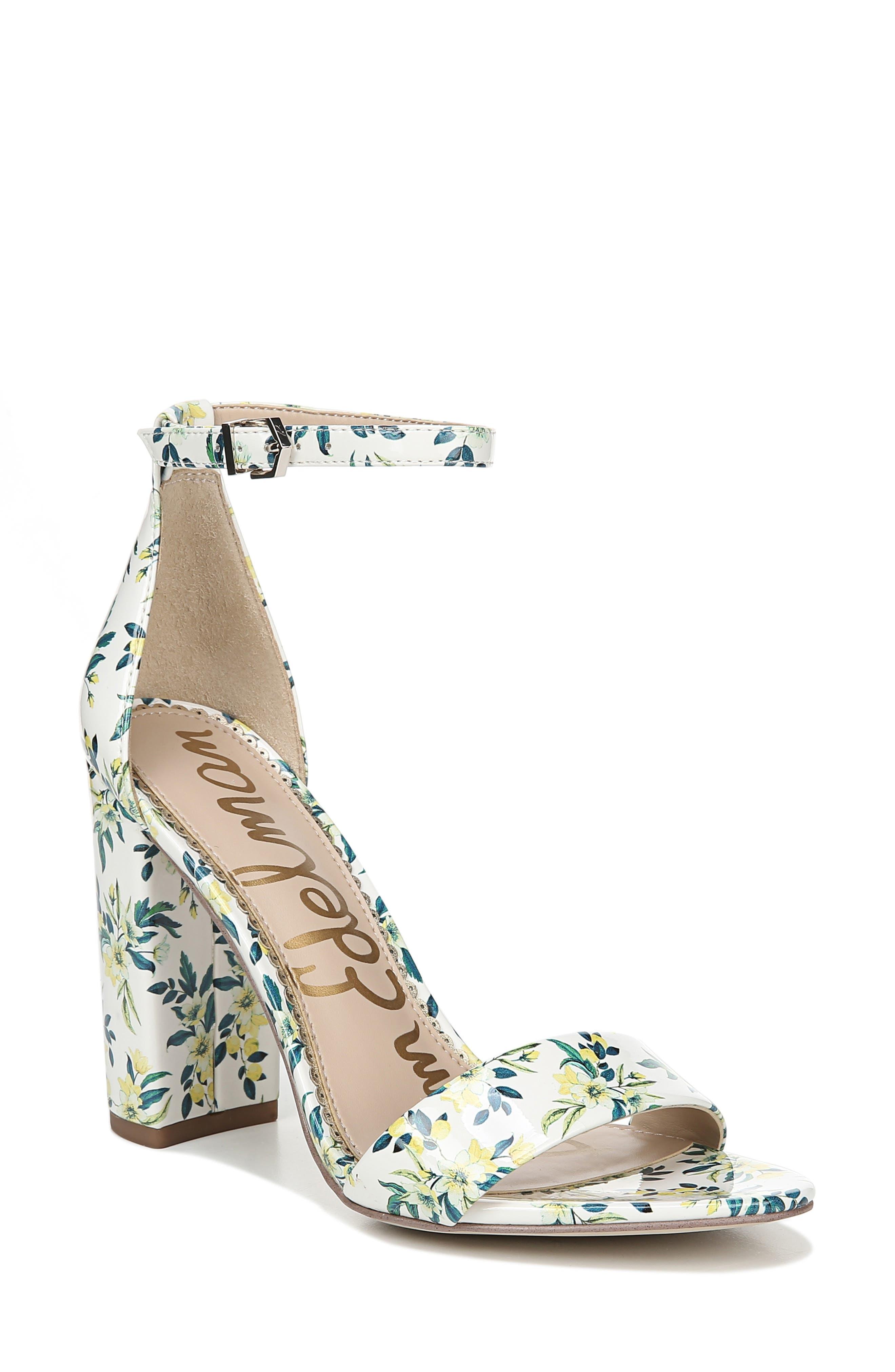 Yaro Ankle Strap Sandal,                             Main thumbnail 1, color,                             WHITE MULTI FABRIC