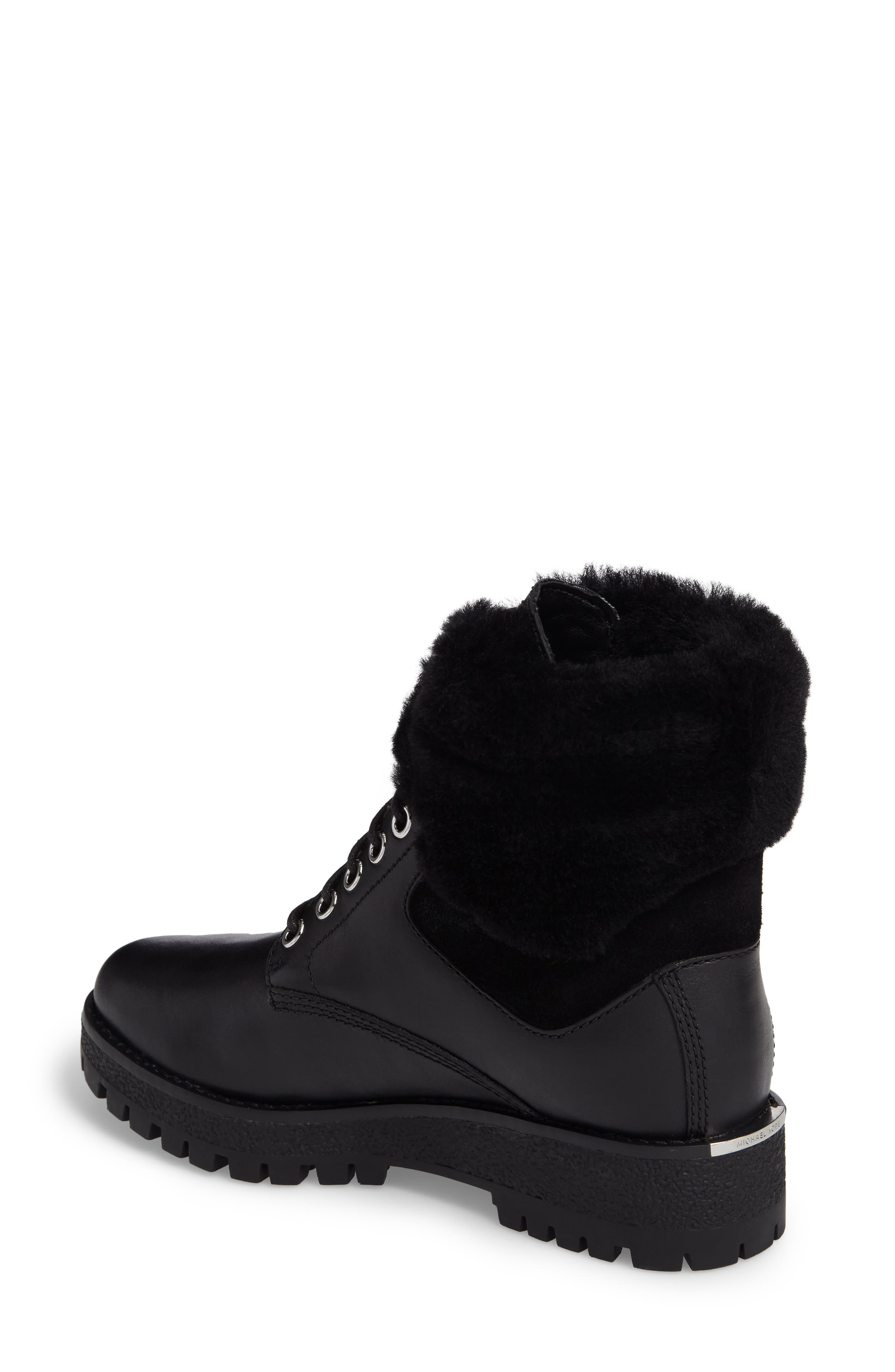 Teddy Water Resistant Boot with Genuine Shearling Trim,                             Alternate thumbnail 2, color,                             001